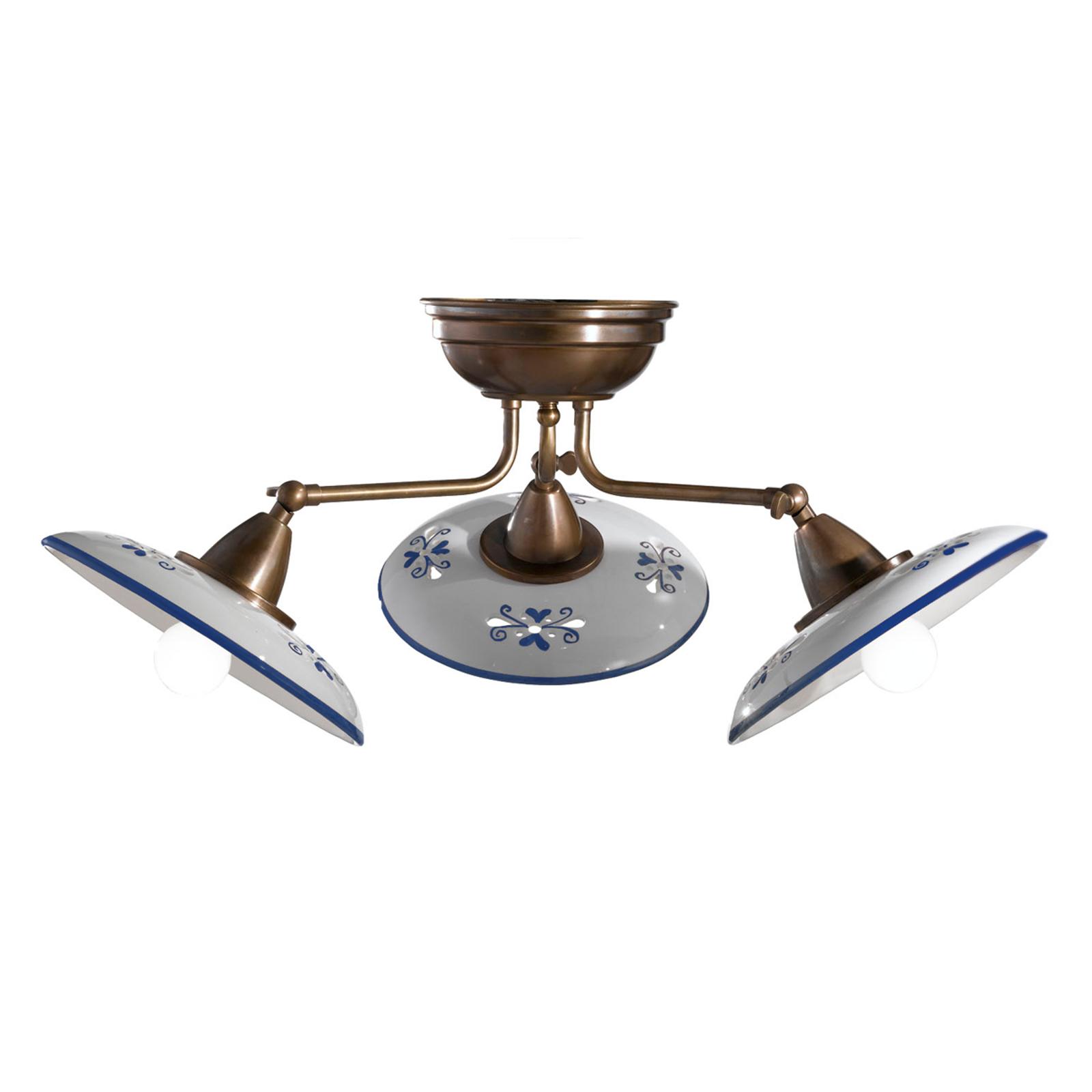 Bassano - 3 lyskilder keramisk taklampe, blå