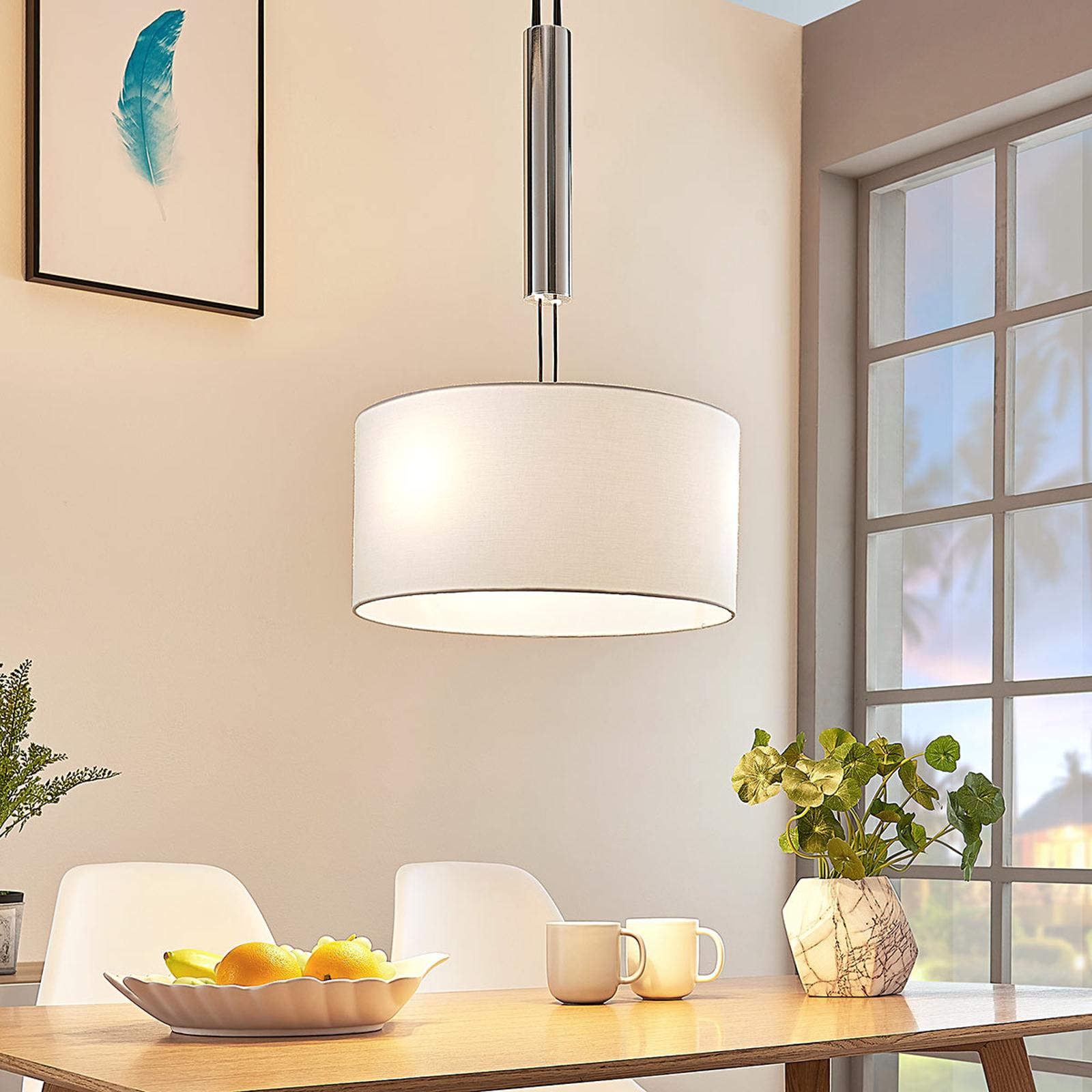 Stoffen hanglamp Mariat, hoogte verstelbaar, rond
