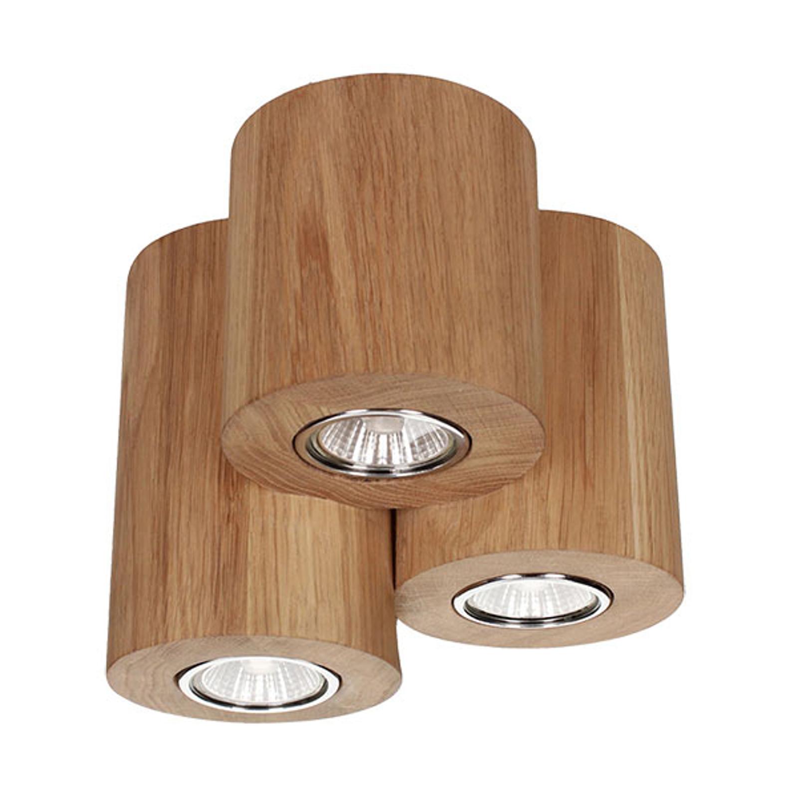 Taklampa Wooddream 3 lampor ek, rund