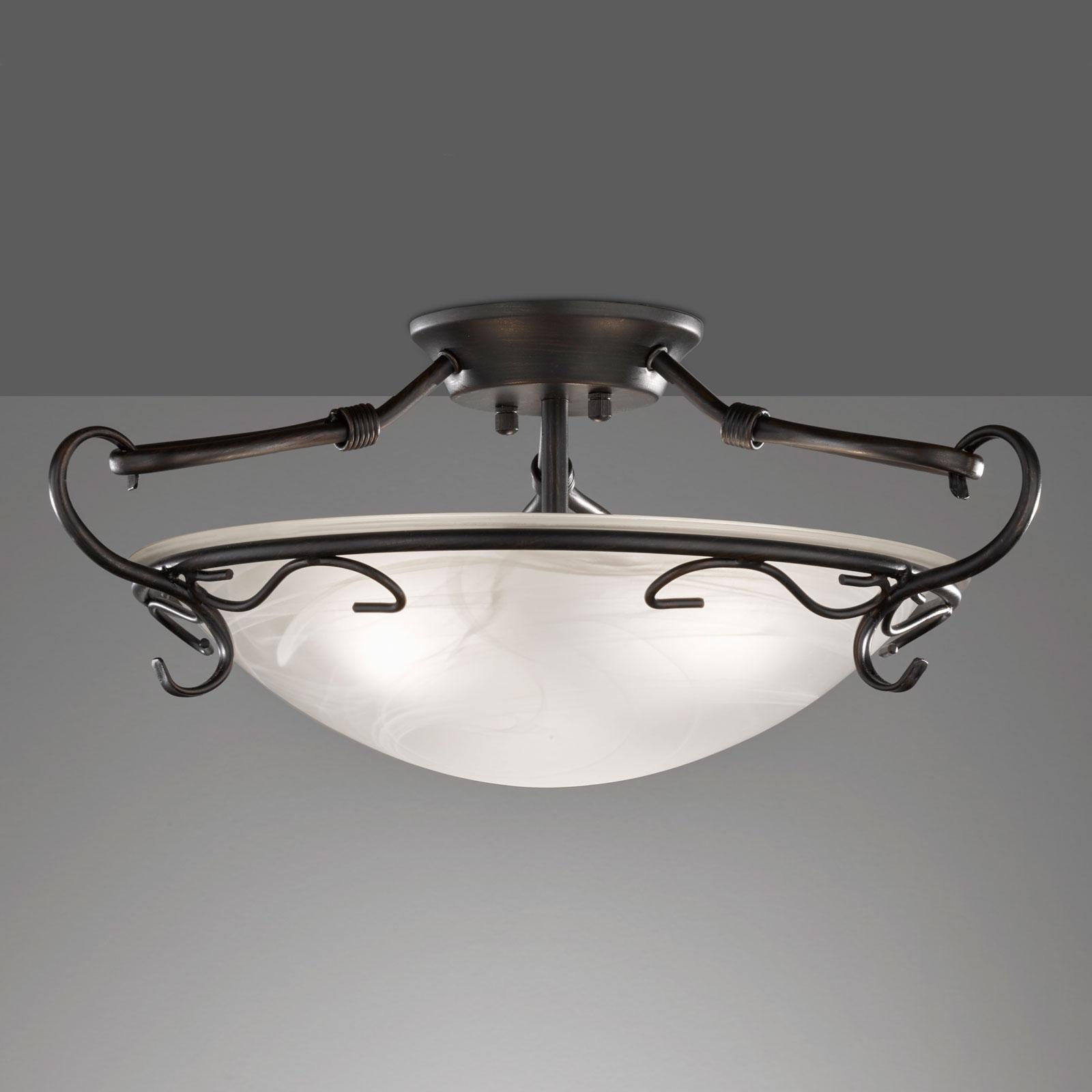 Plafondlamp VENTURI roestkleurig antiek h. 22 cm