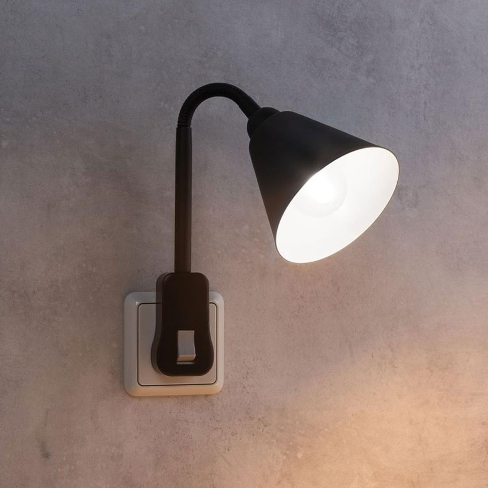 Paulmann Junus lampe sur prise bras flexible, noir