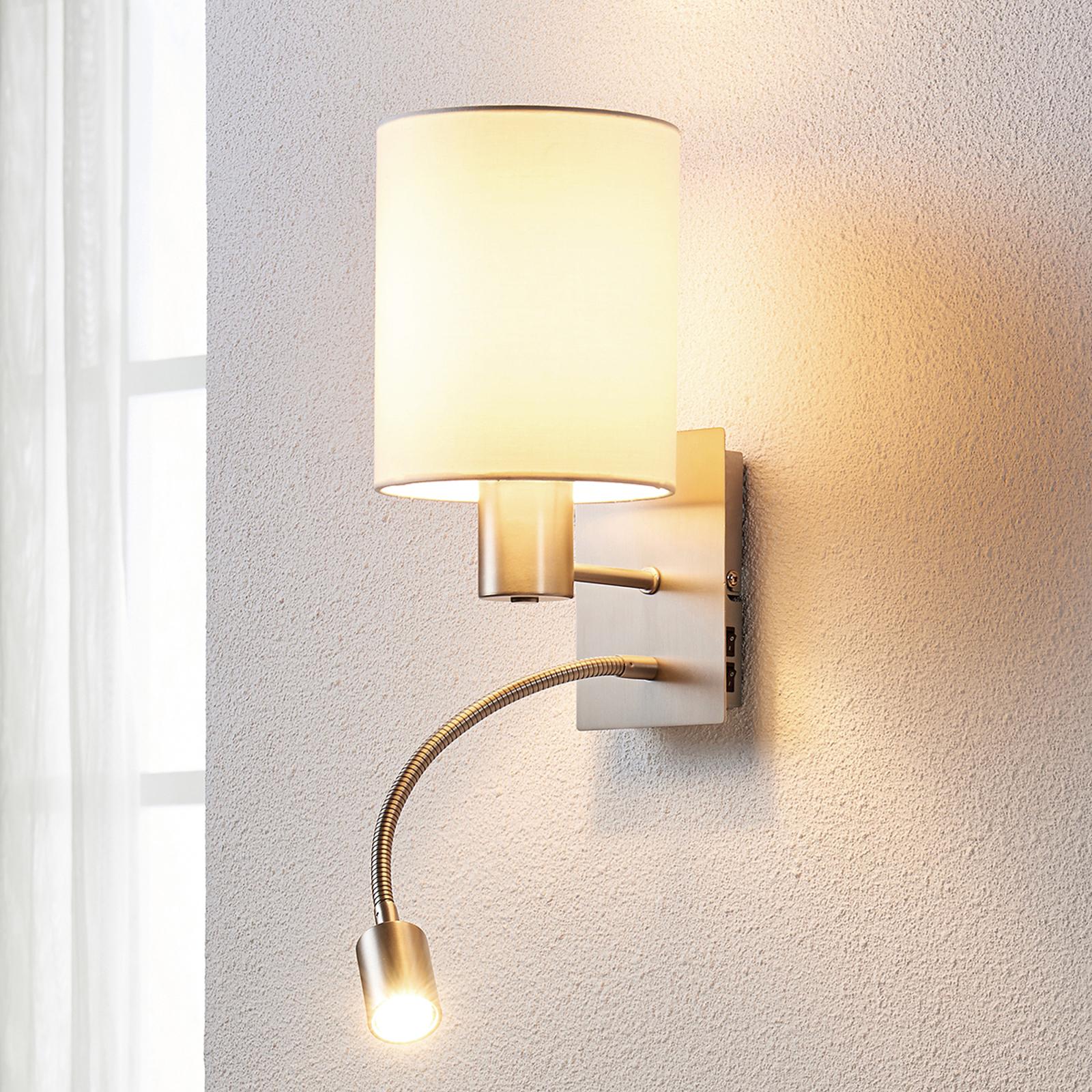Stoffen wandlamp Shajan met LED leeslamp