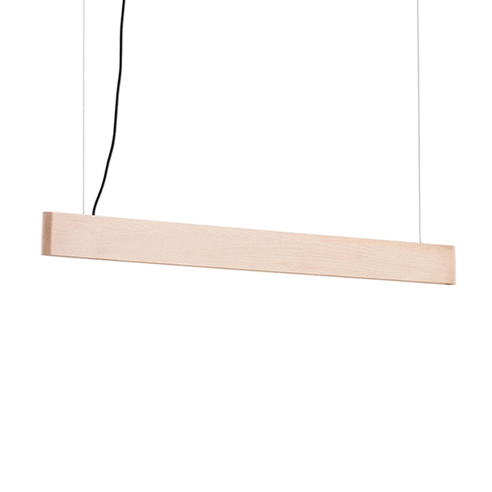 LED-pendellampe Abbon med treskjerm, bøk, 90 cm