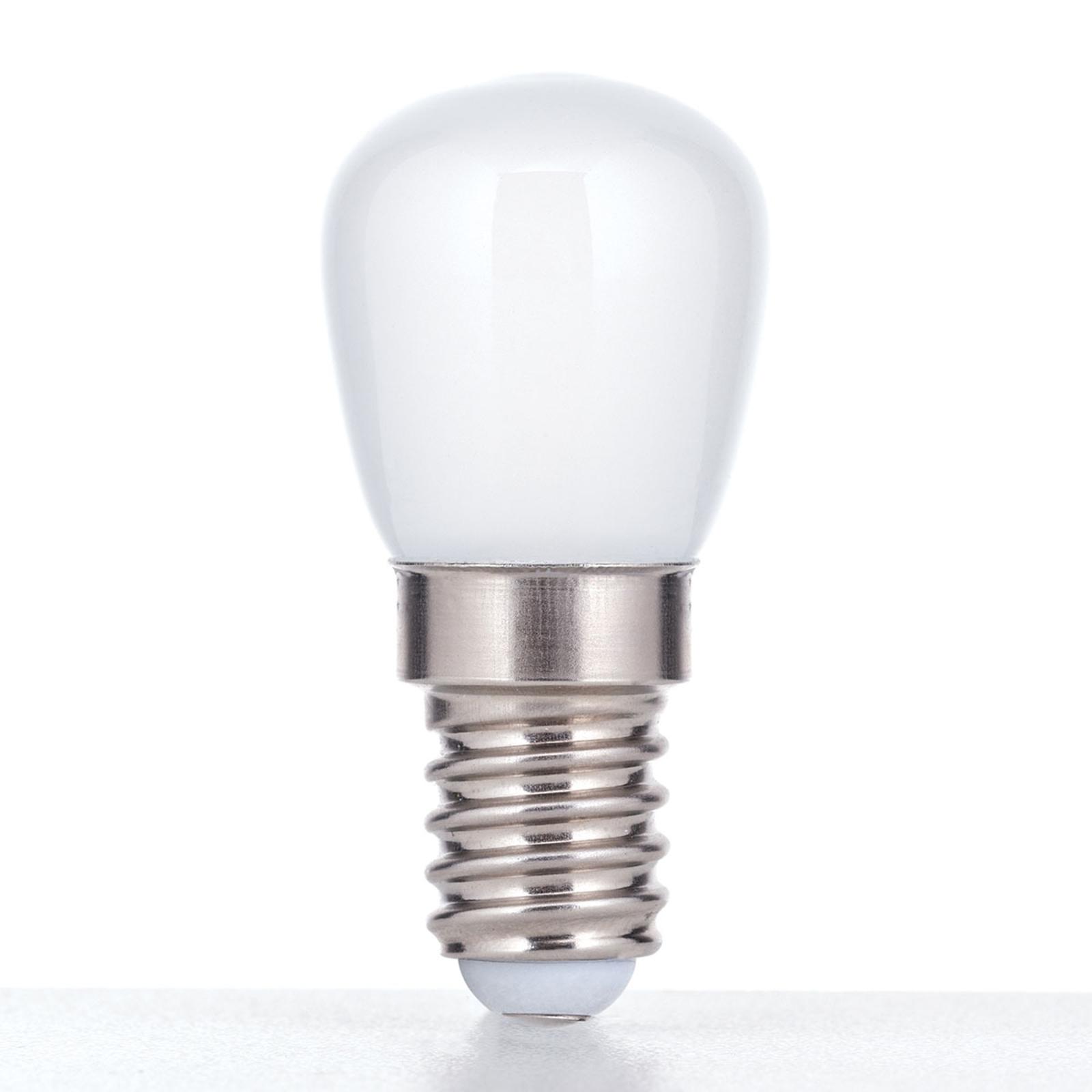LED-kylskåpslampa E14 1,2W, opal, varmvit
