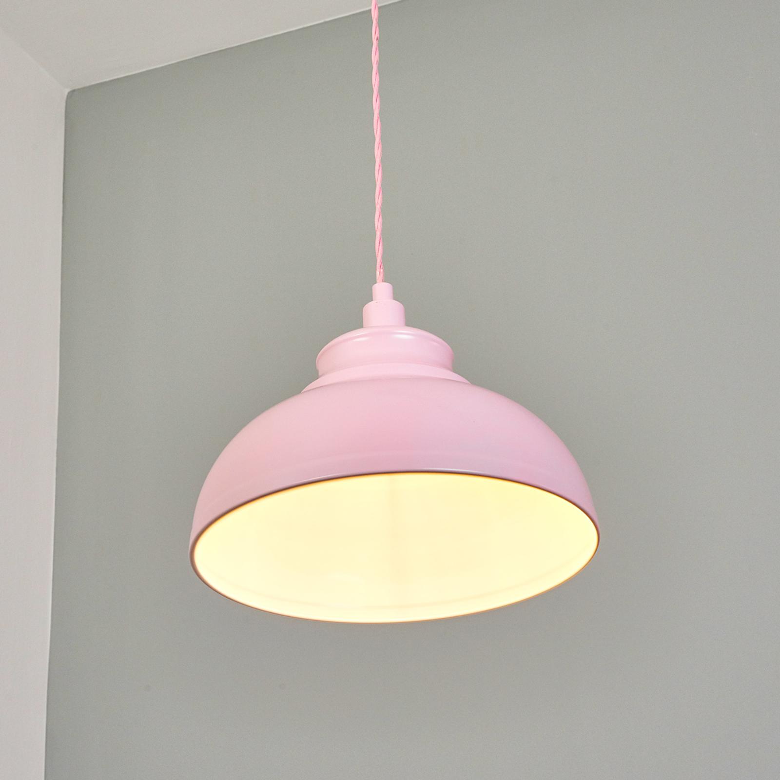Metalowa lampa wisząca Isla różowa