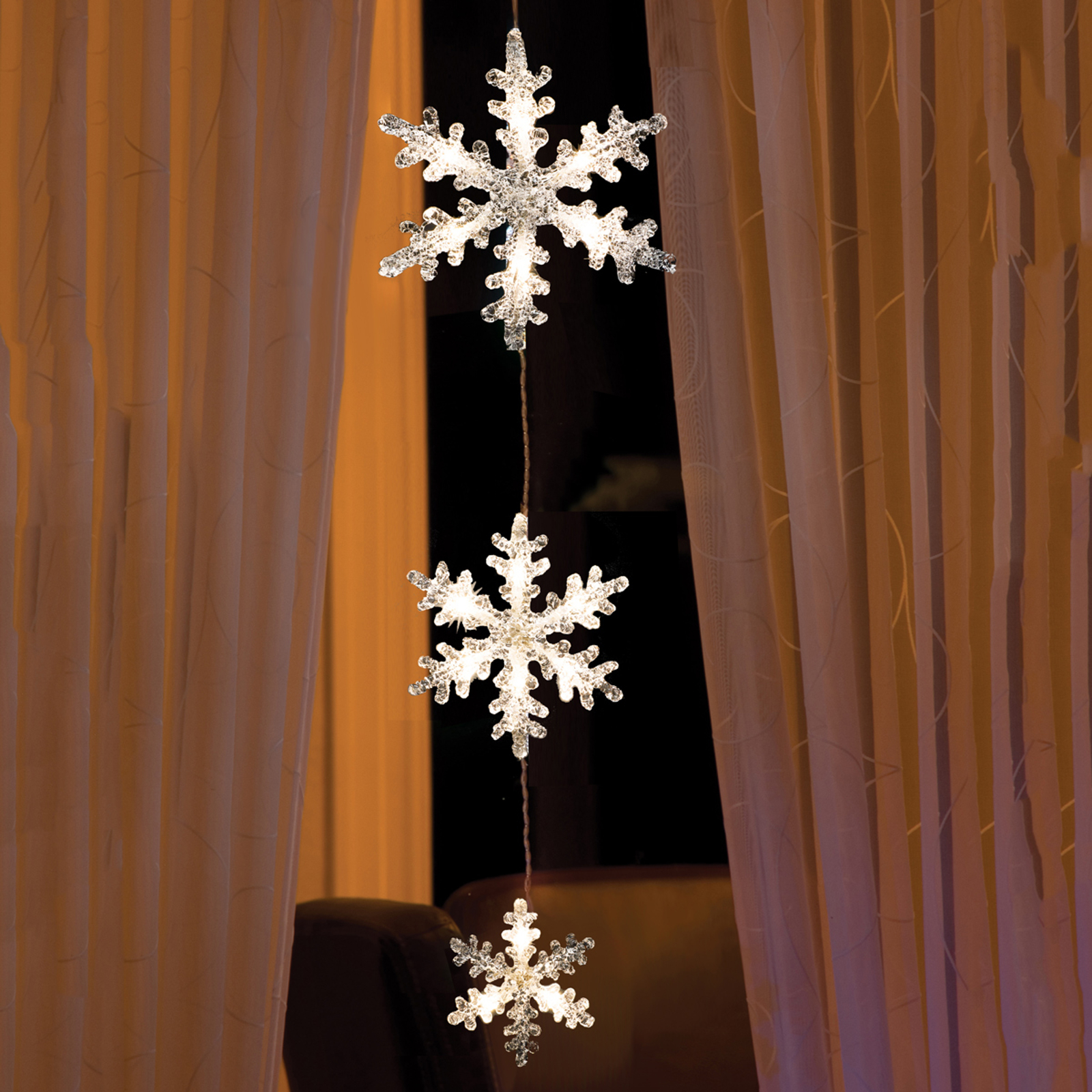 Glamourøs LED-lyskæde snefnug
