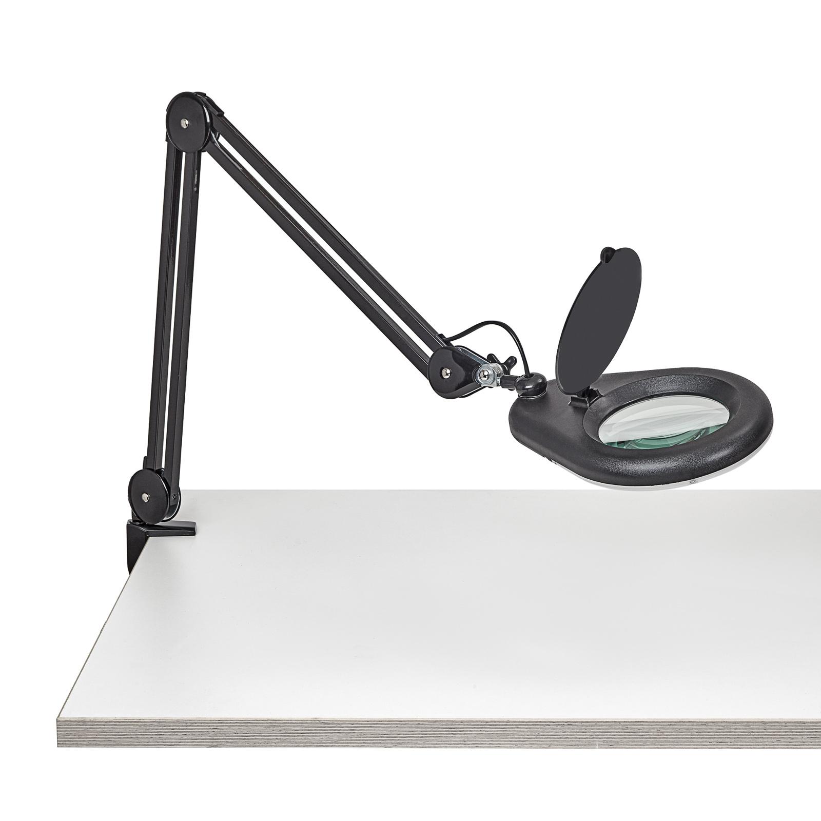 Lampa z lupą LED MAULviso z zaciskiem, czarna