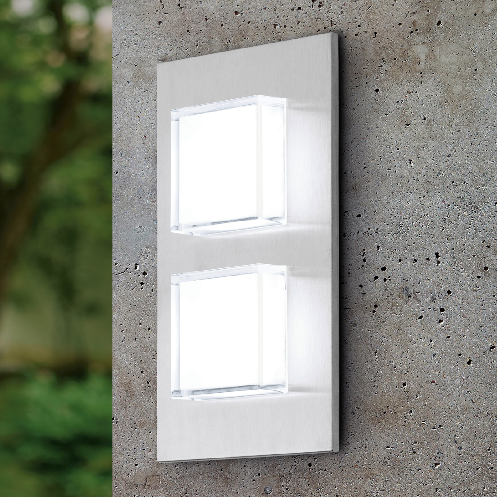 Aplique de pared exterior LED de dos brazos Pias