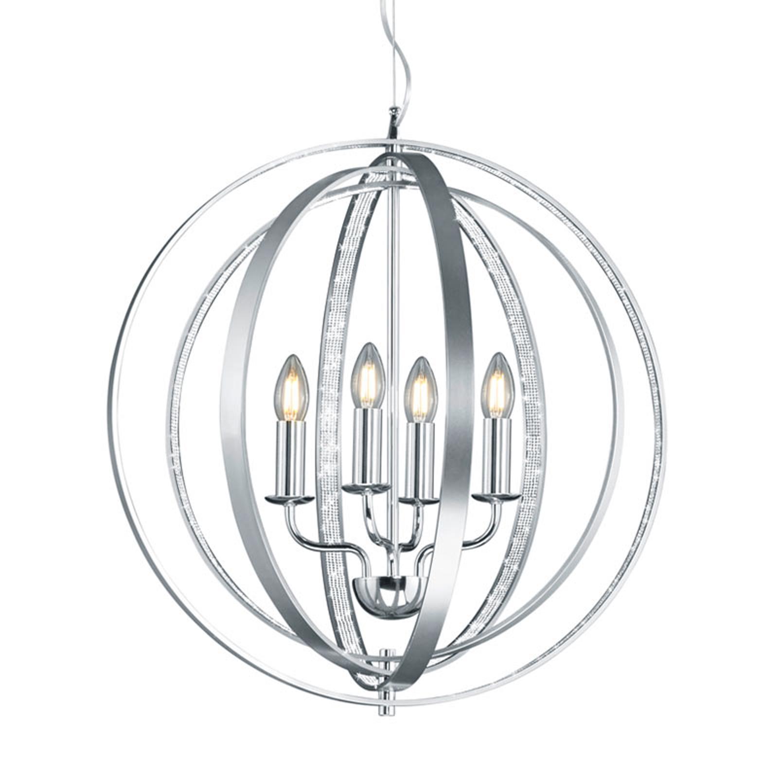 Okrągła lampa wisząca Candela, chrom i aluminium