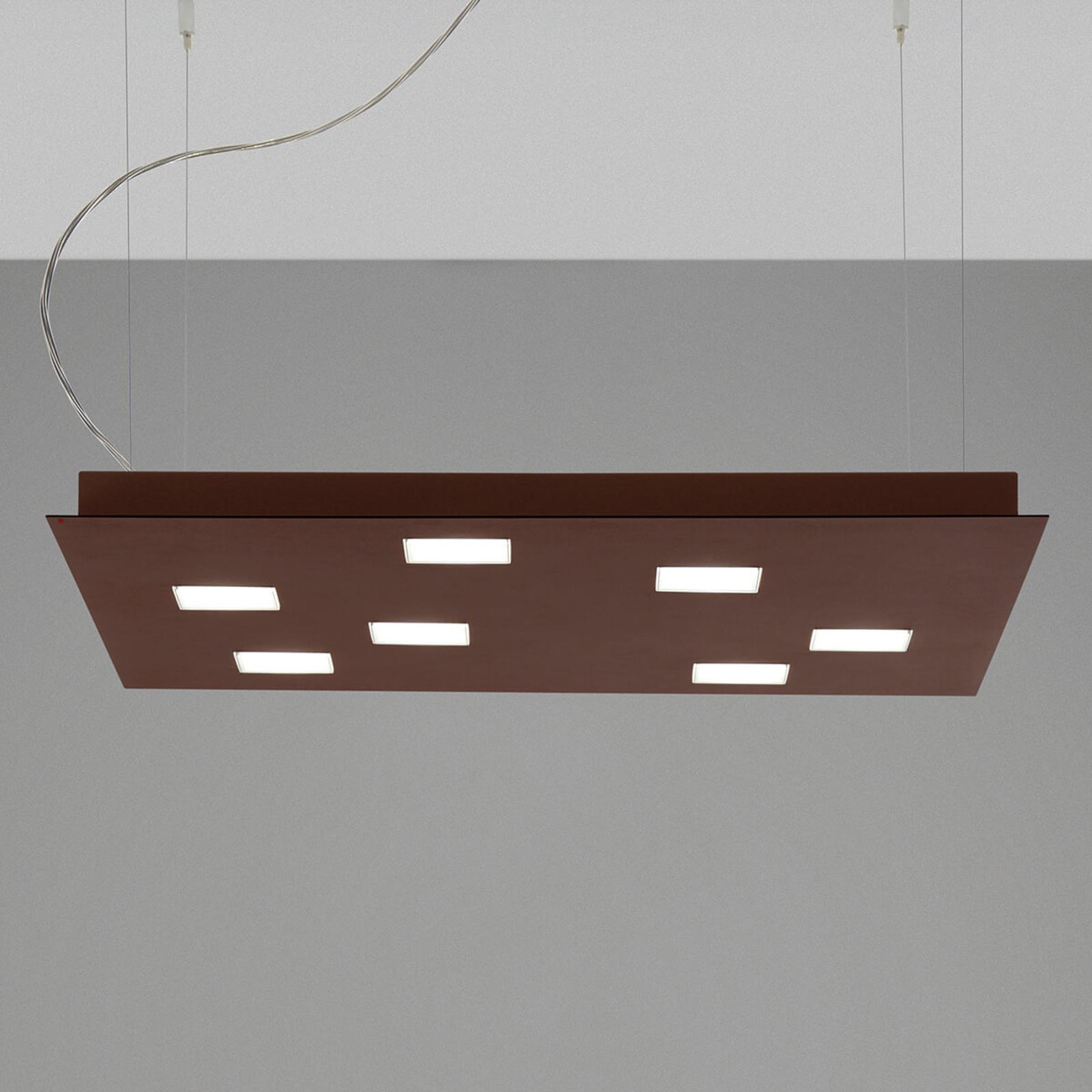 Fabbian Quarter - braune LED-Hängeleuchte 7flg.