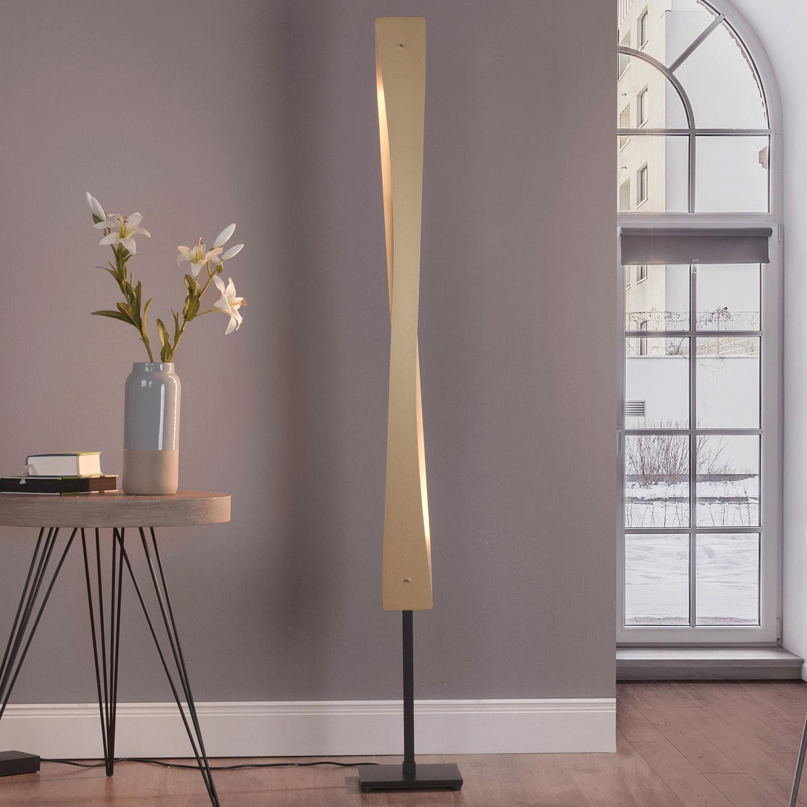 Lucande Lian LED-Stehleuchte, messing, schwarz