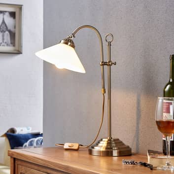 Classica lampada da tavolo Otis, ottone anticato