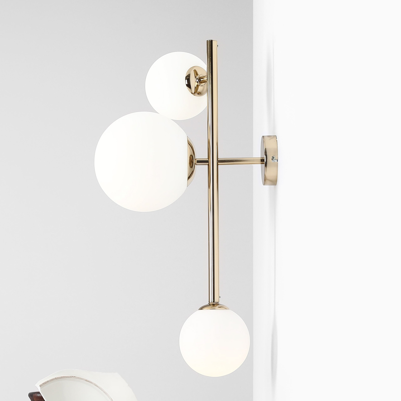 Vegglampe Dione, 3 lyskilder, gull