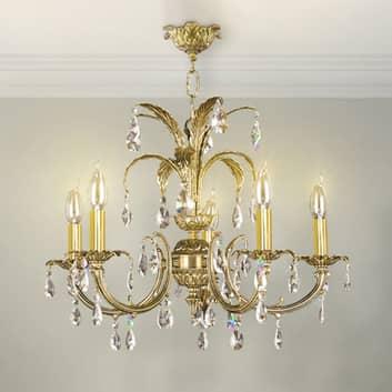 Kristalljuskrona Palmera, gammalt gold, 5 lampor