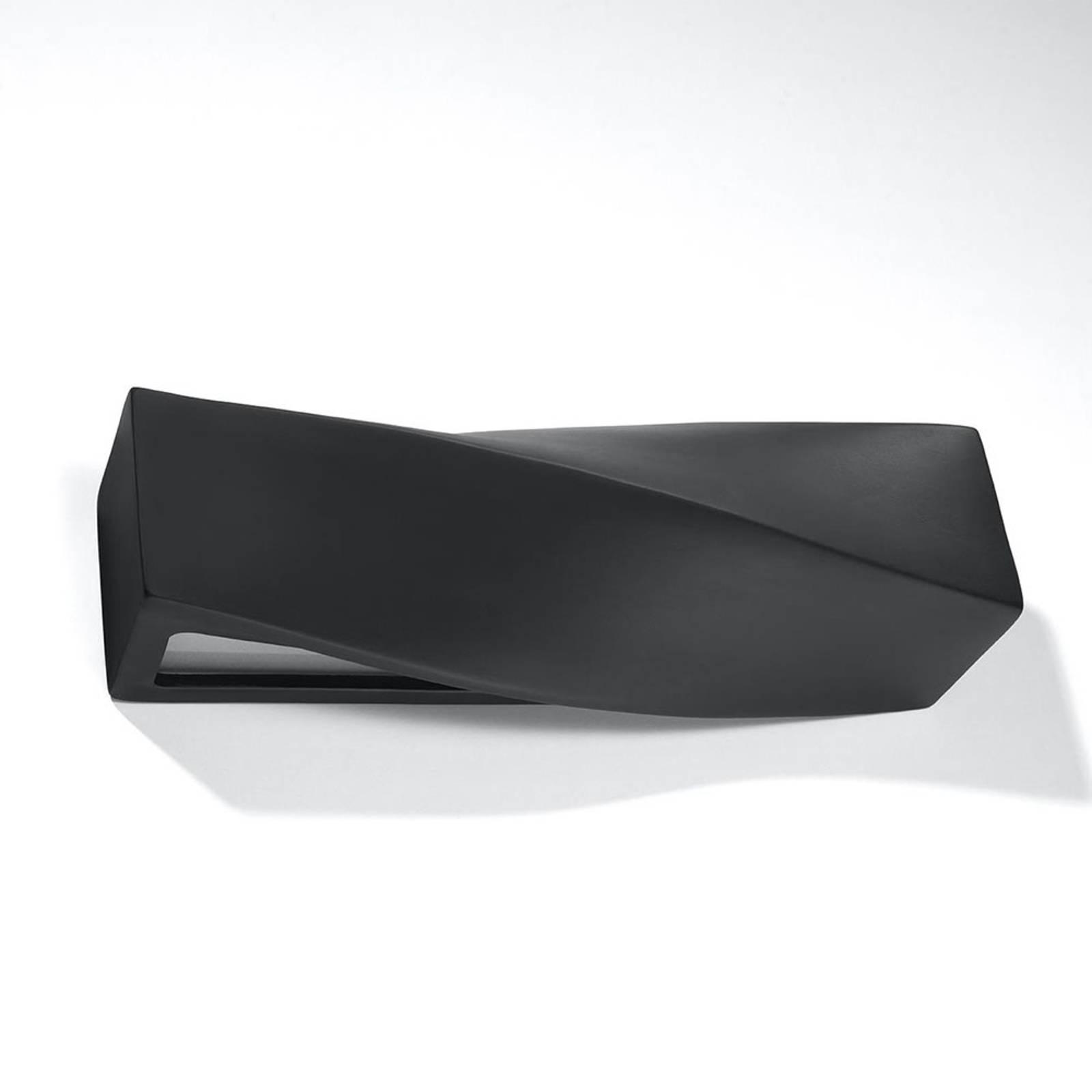 Wandleuchte Turn aus Keramik, up/down, schwarz