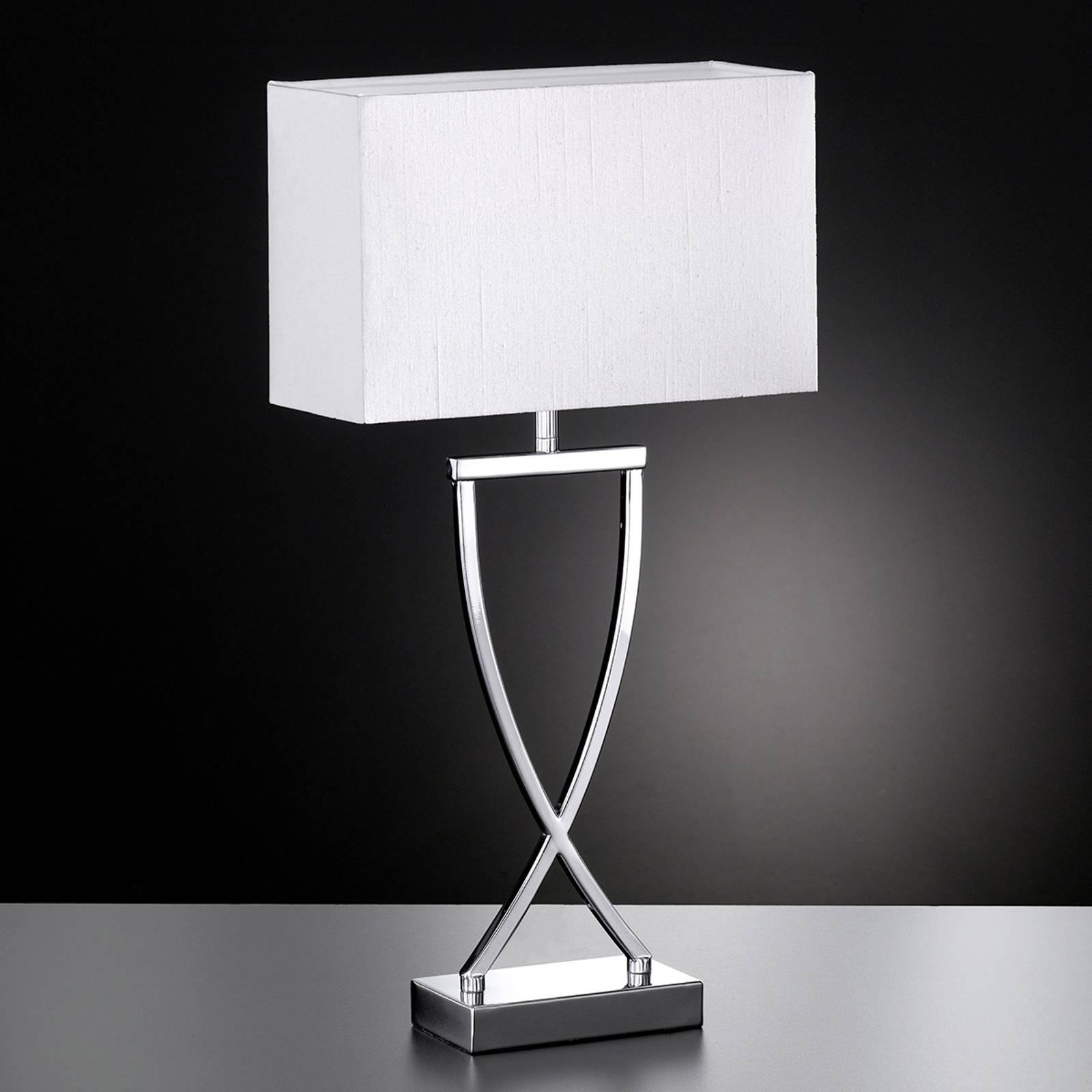 Lampadaire textile Anni chromé-blanc