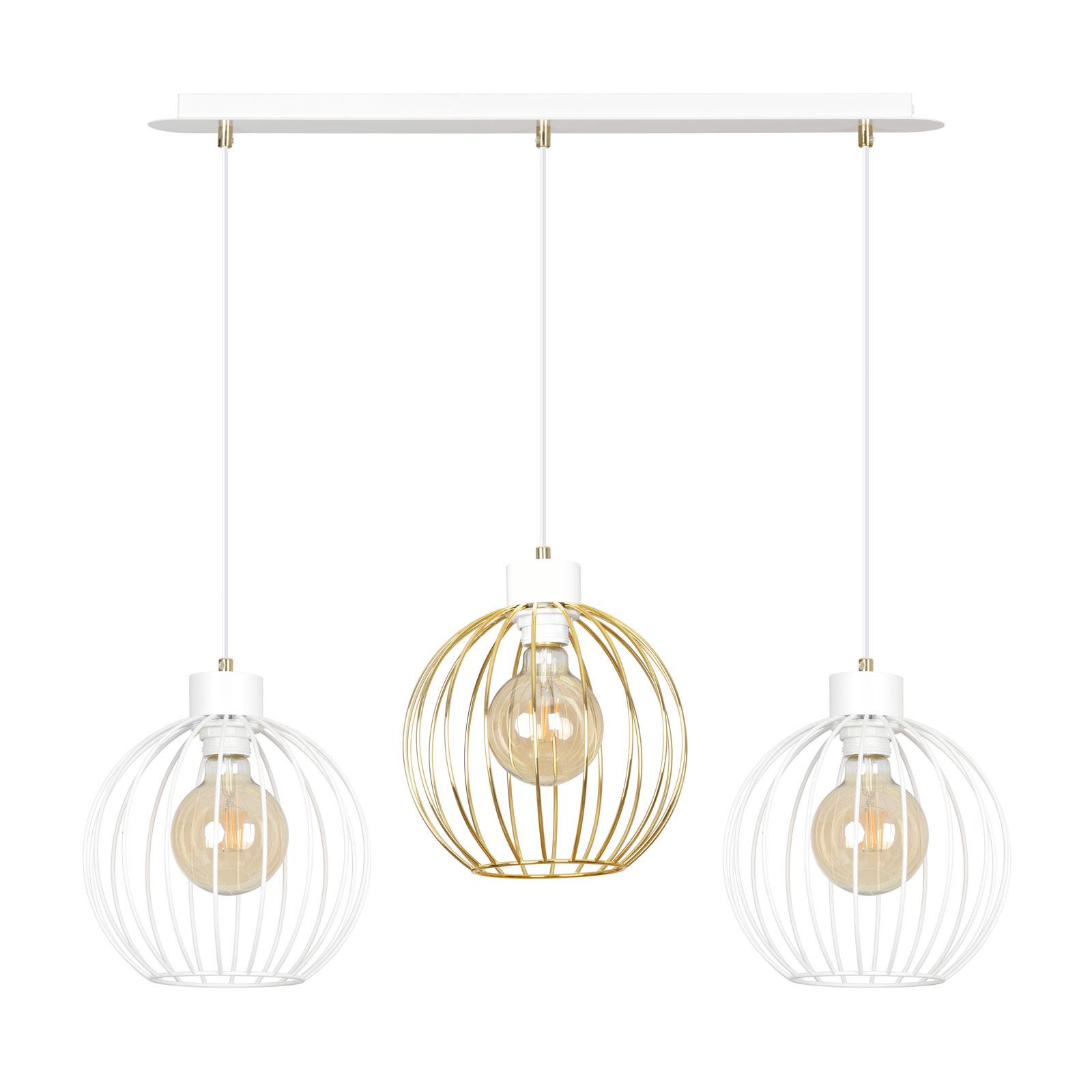 Lampa wisząca Pineta 3 3-punktowa, biało-złota