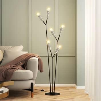 Lucande Carlea lámpara de pie 6 luces negro-níquel