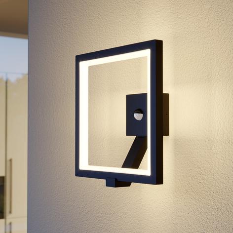 LED- utomhusvägglampa Square, grafitgrå med sensor