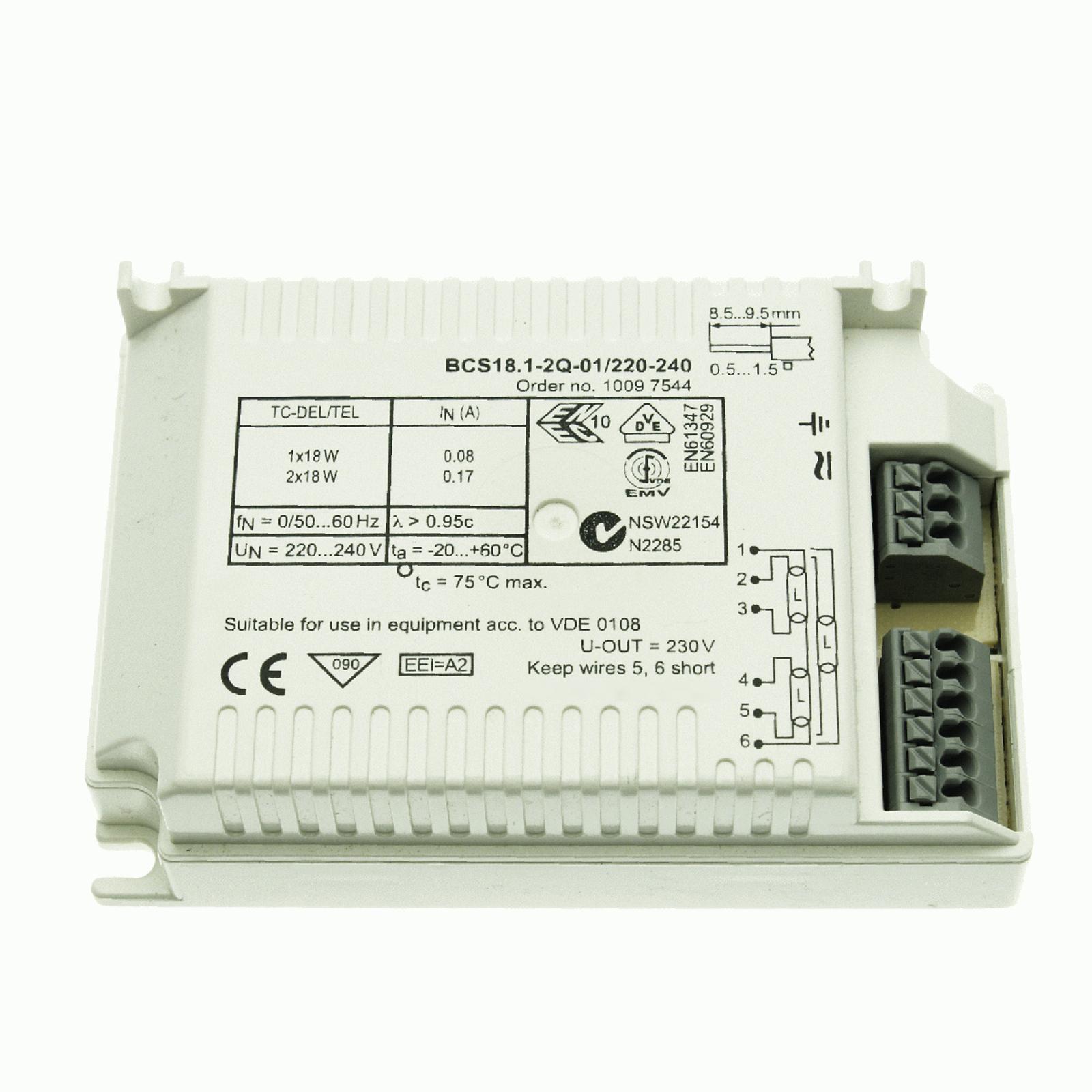 BE 1/2 x 18W TC-DEL/TEL BCS18.1-2Q-01/220-240