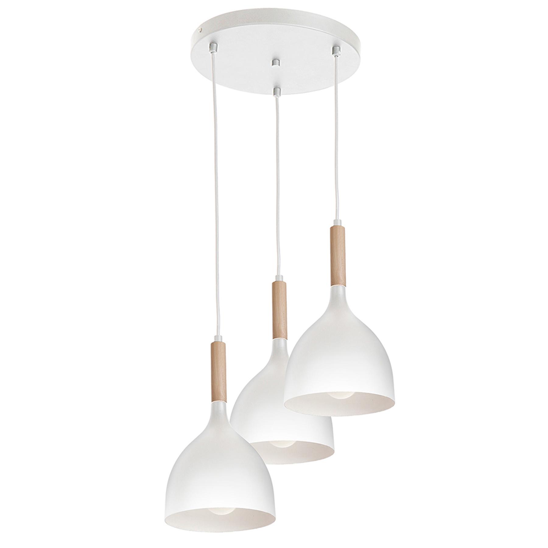 Hanglamp Noak 3-lamps rond wit/hout natuur