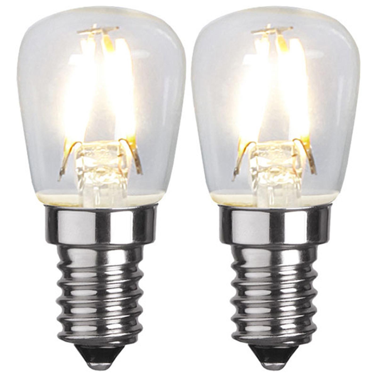 LED-Lampe E14 T26 1,3W 2.700K Filament 2er-Set