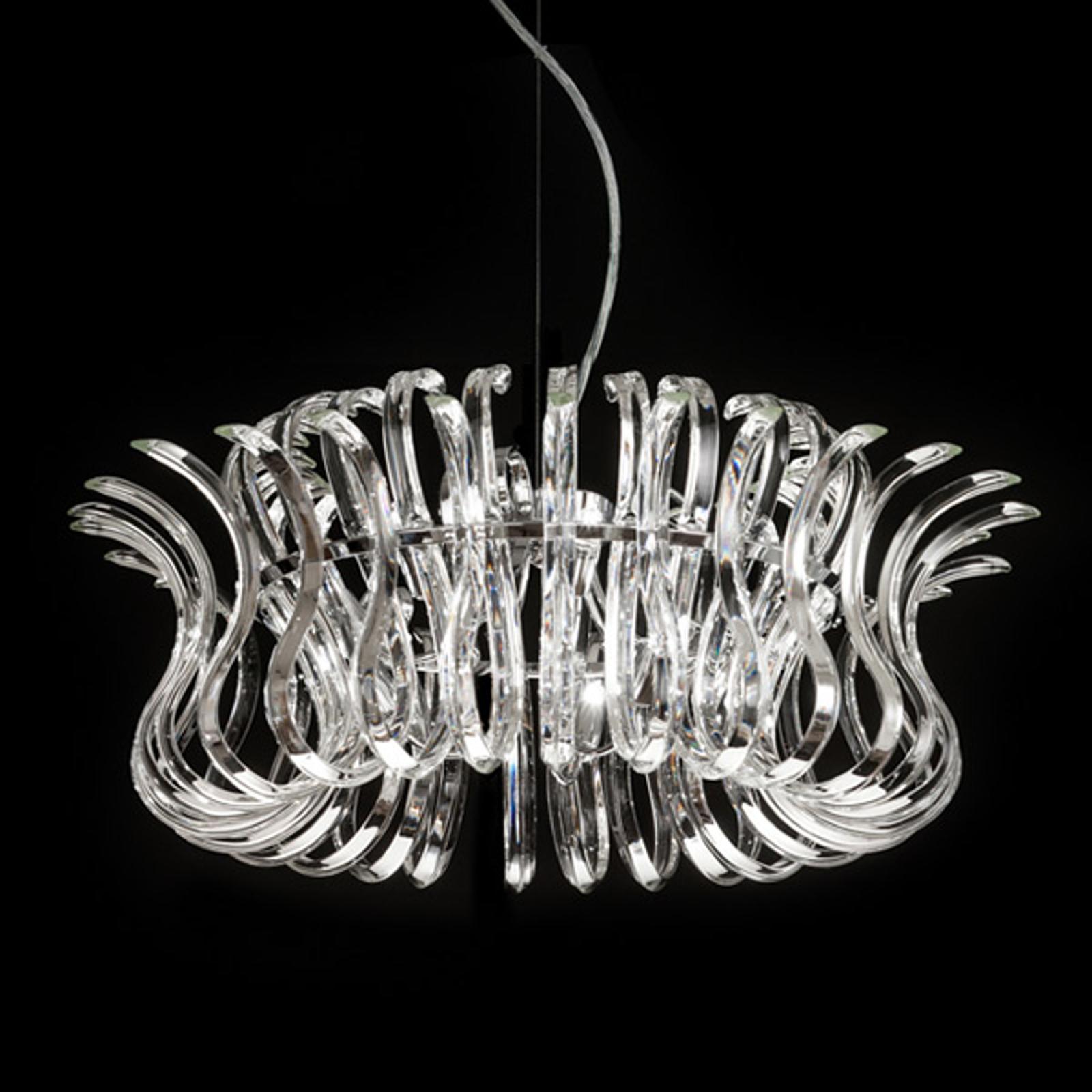 Glazen hanglamp Wave met 65 cm doorsnede