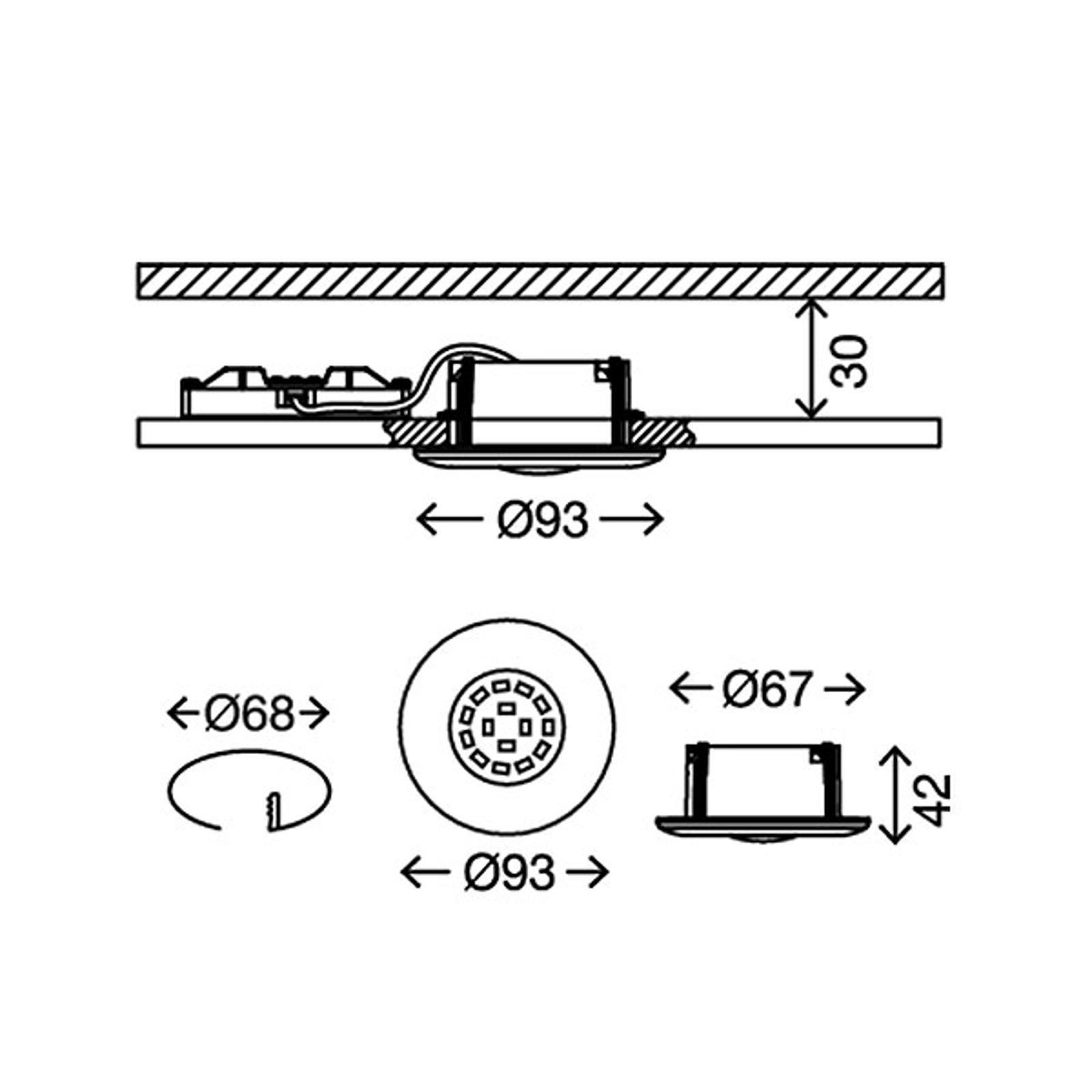 Shower LED-indbygningsspot, hvidt, IP65