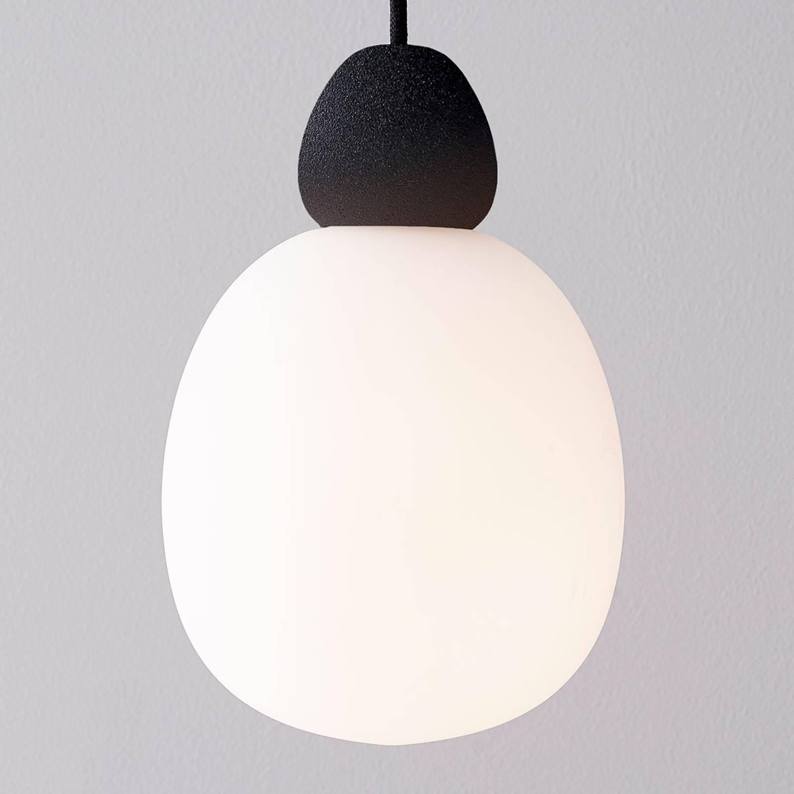 Glazen hanglamp Buddy ophanging zwart