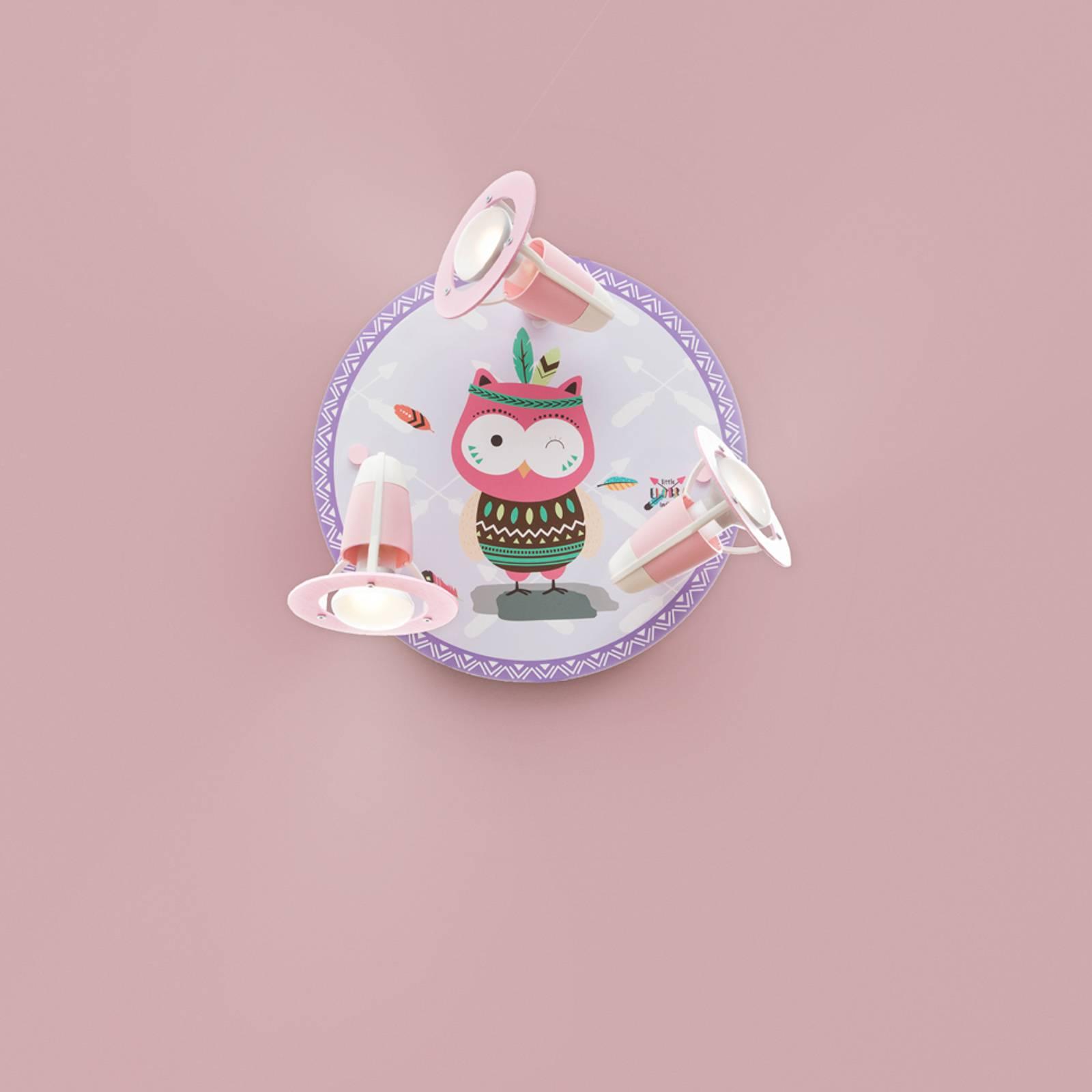 Wandlamp Little Indians, Uil Hannah, roze-lila