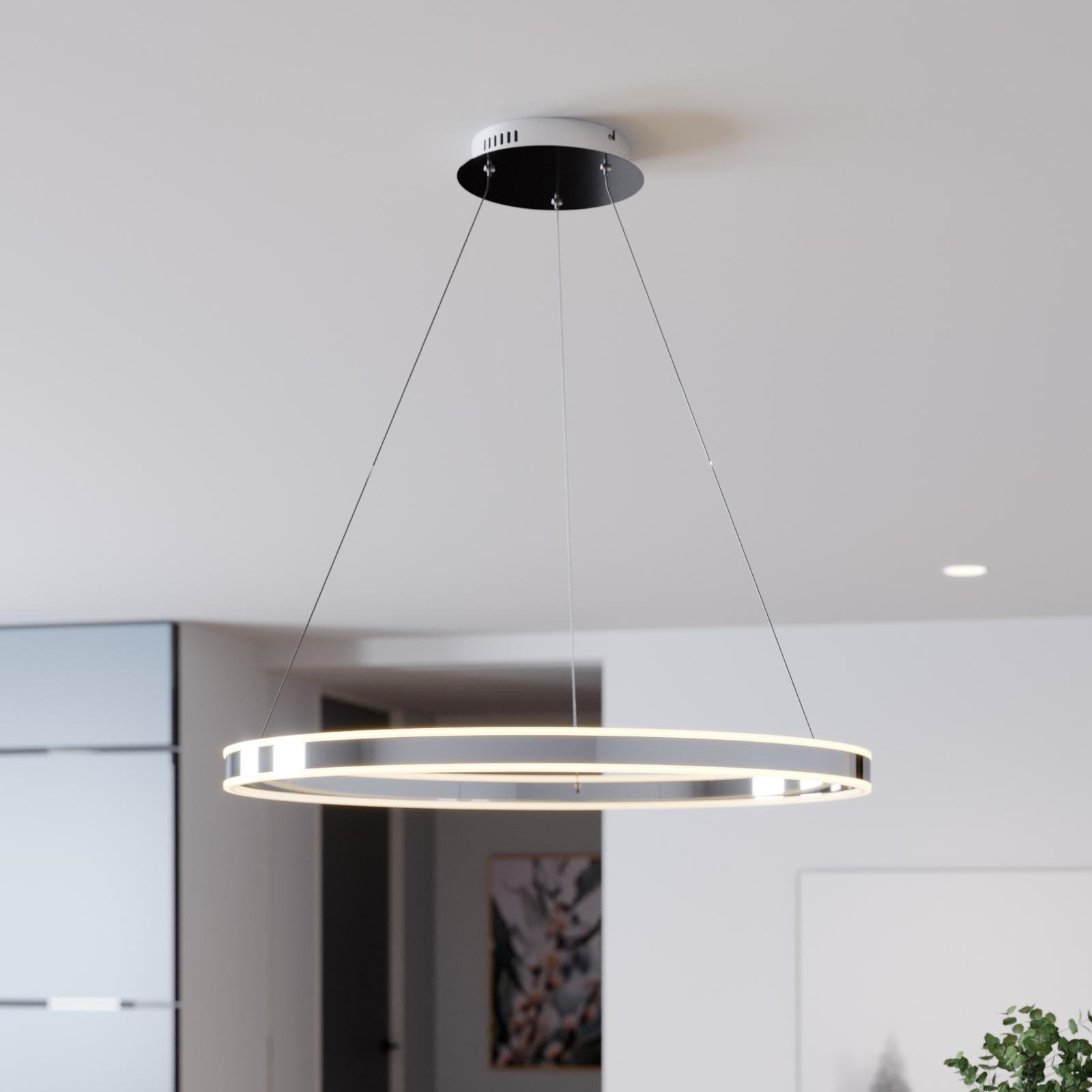 LED Pendelleuchte Lyani in Chrom, dimmbar, 80 cm