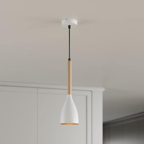 Lámpara colgante Muza, 1 luz, blanco/oro