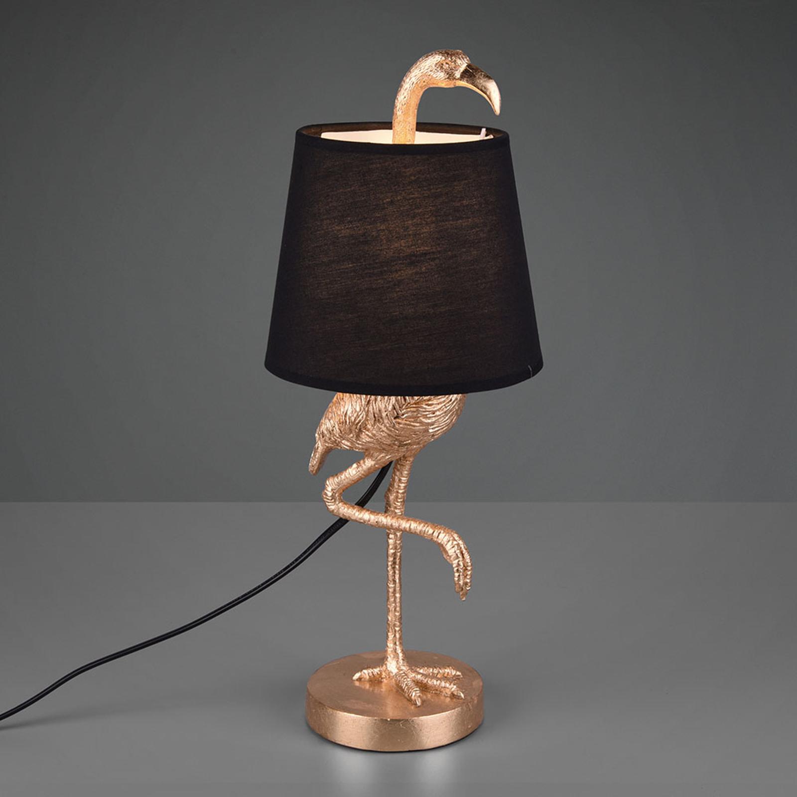 Tischleuchte Lola mit Flamingo-Figur, schwarz/gold