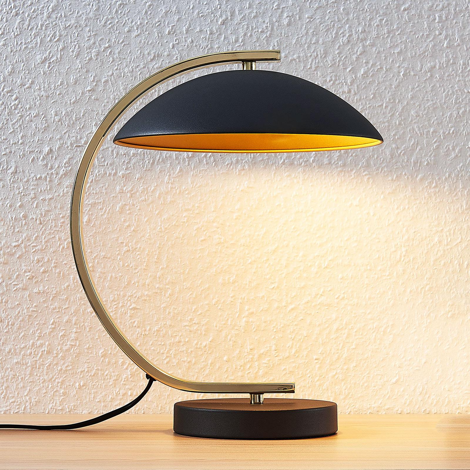 Lámpara metálica de mesa Adriana, negro/dorado