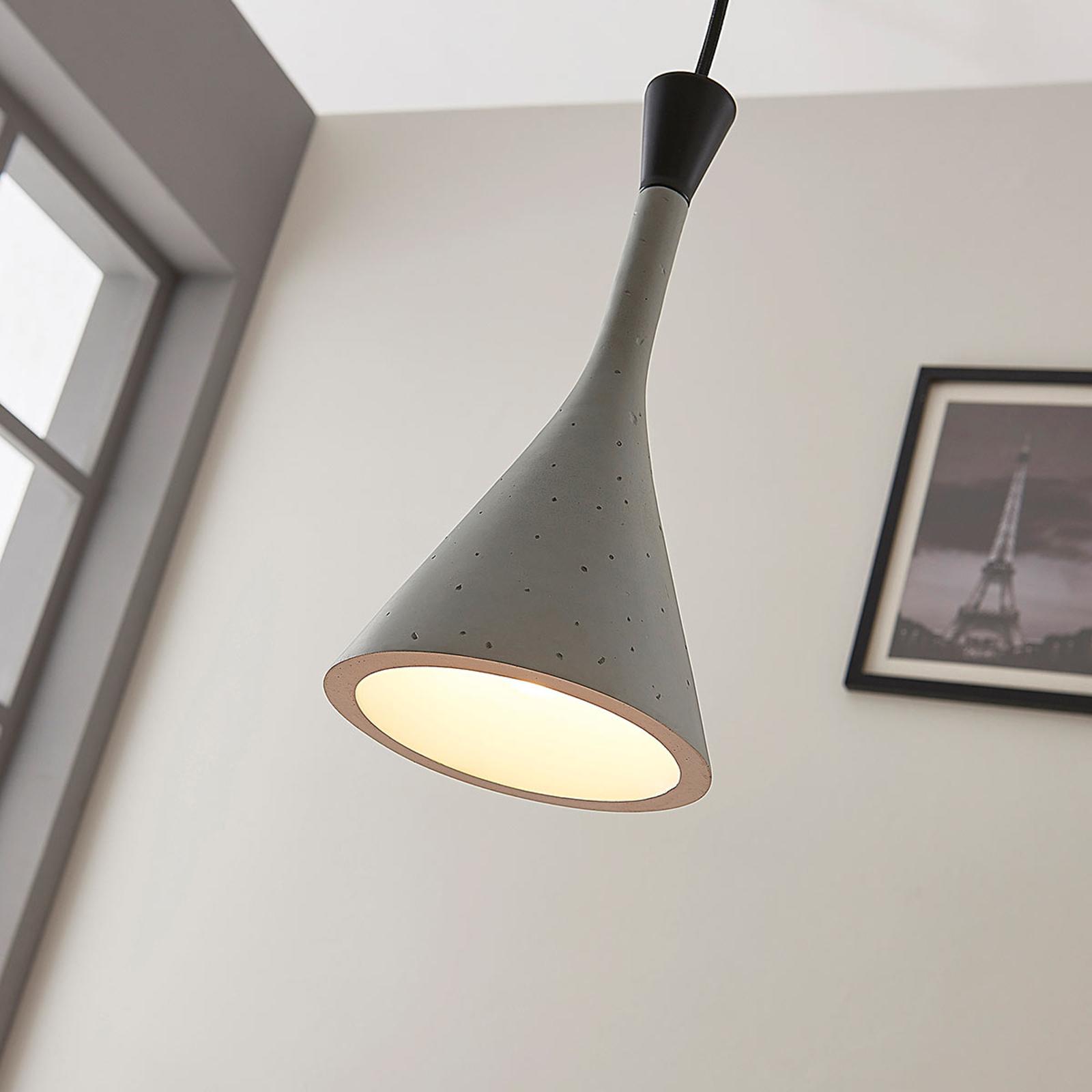 Nowoczesna lampa wisząca Flynn, szary betonowy