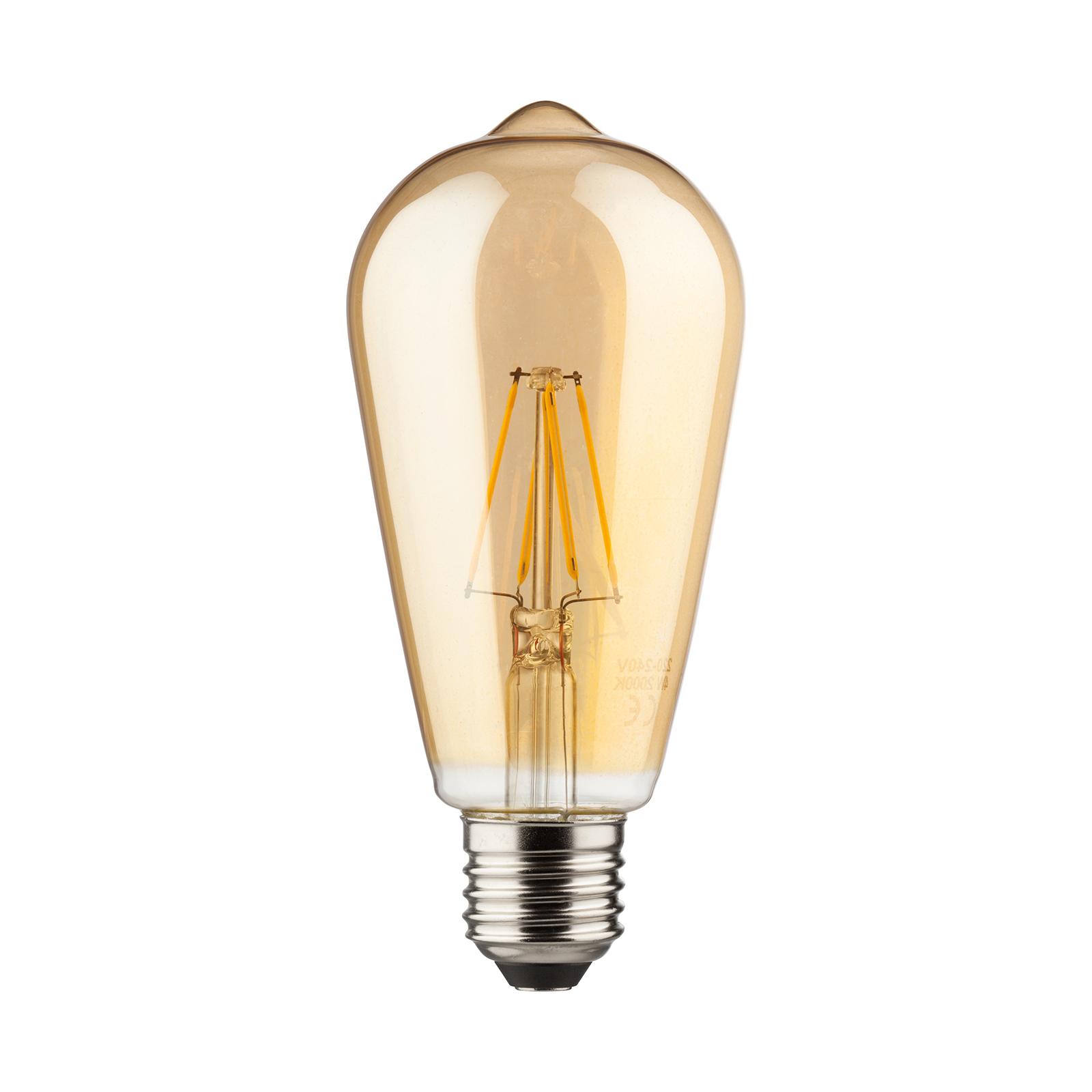 E27 7W LED-rustikklampe gull