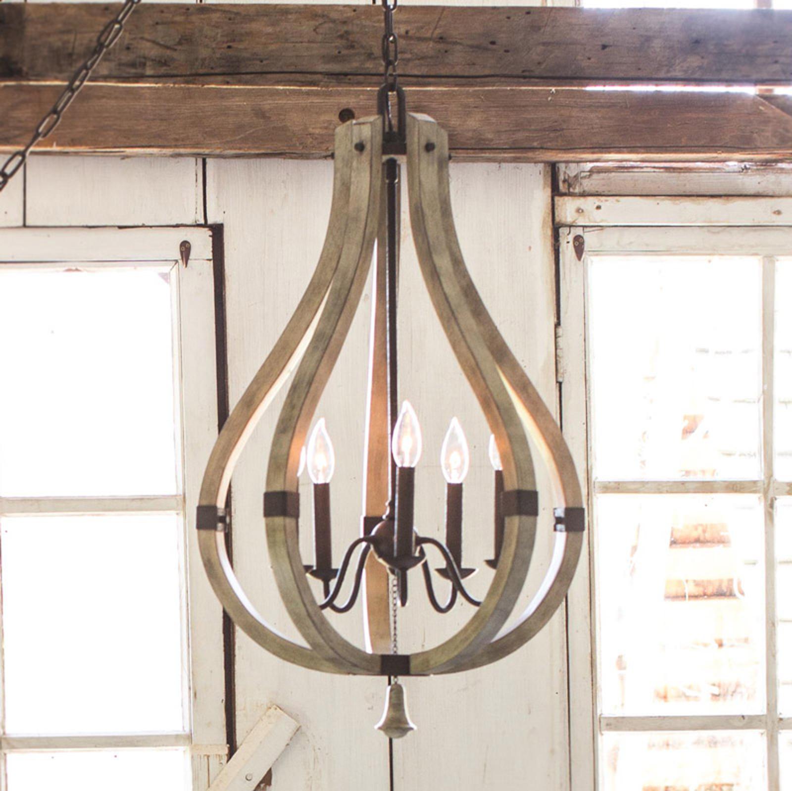 En bois et acier - lustre Middlefield à 5 lampes