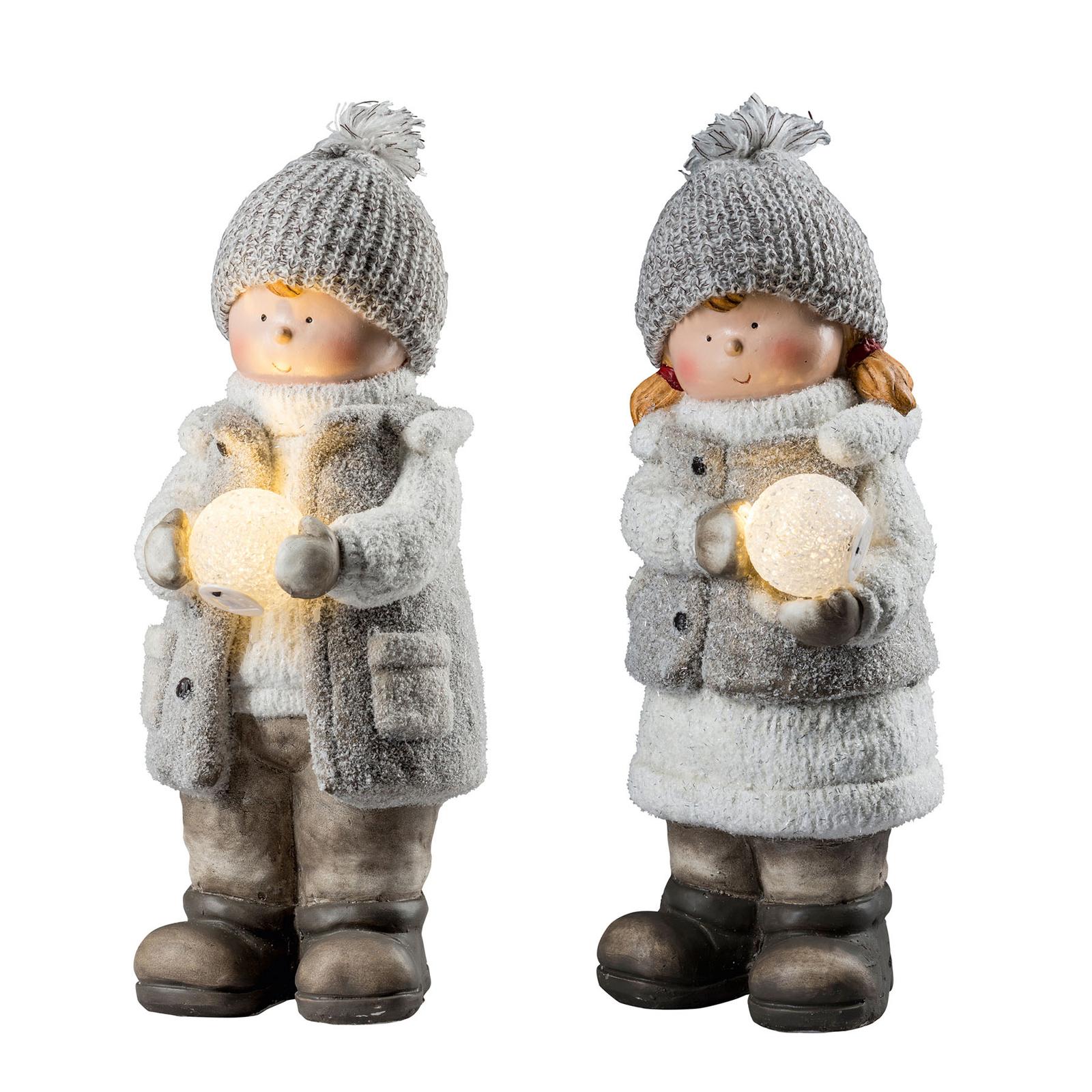 Dekoleuchte XL-Winterkinder mit LED-Schneeball 2er