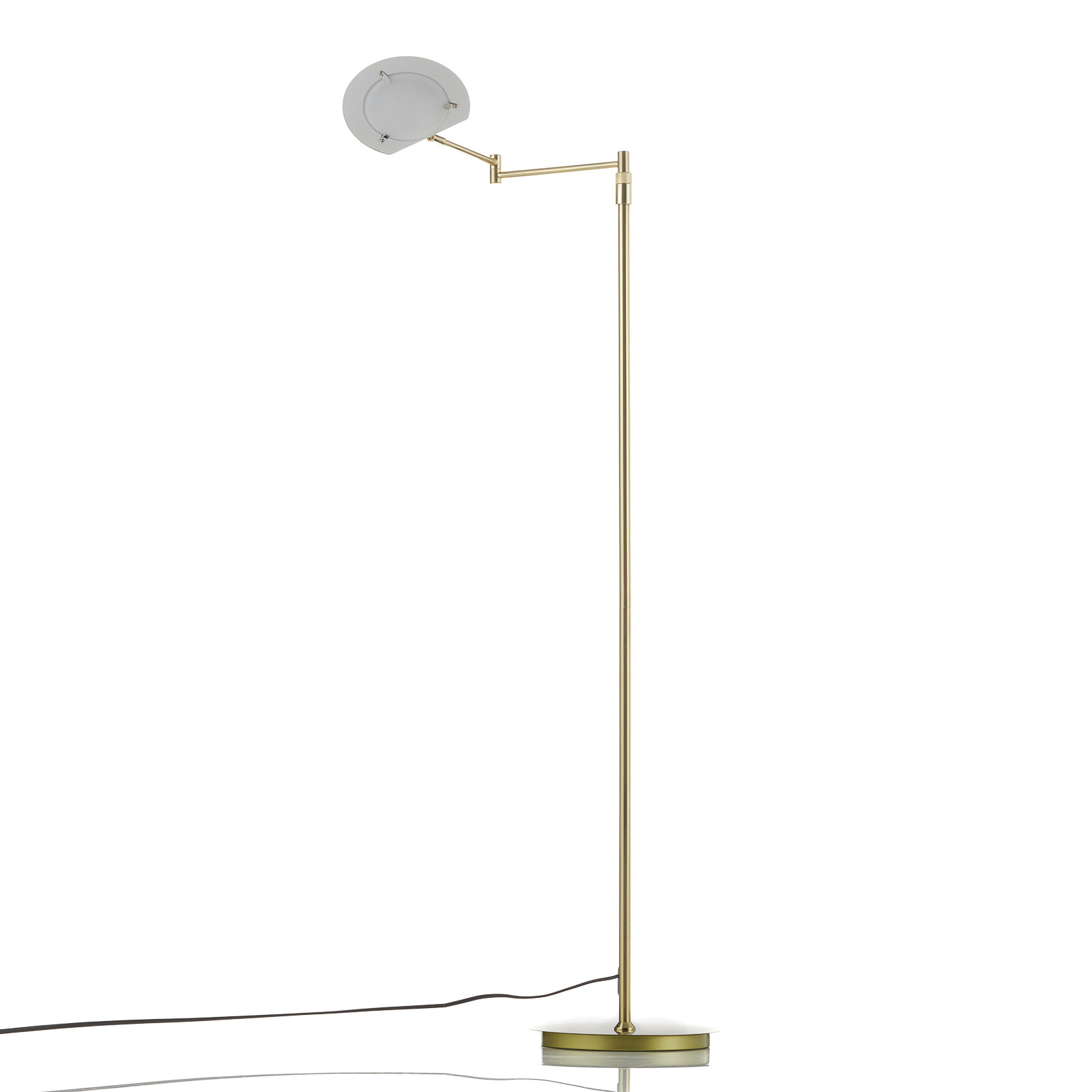 Calcio LED-gulvlampe, justerbar, matt messing