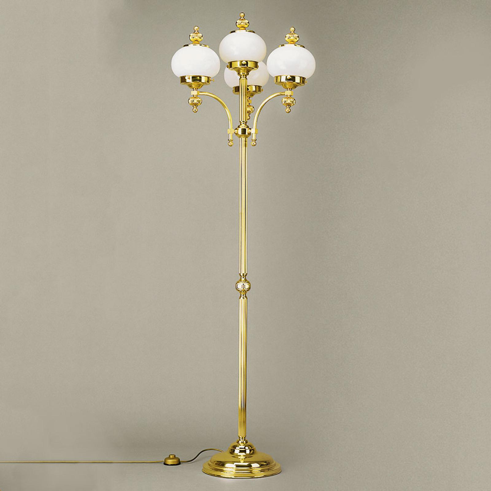 4-punktowa lampa stojąca DELIA, polerowany mosiądz
