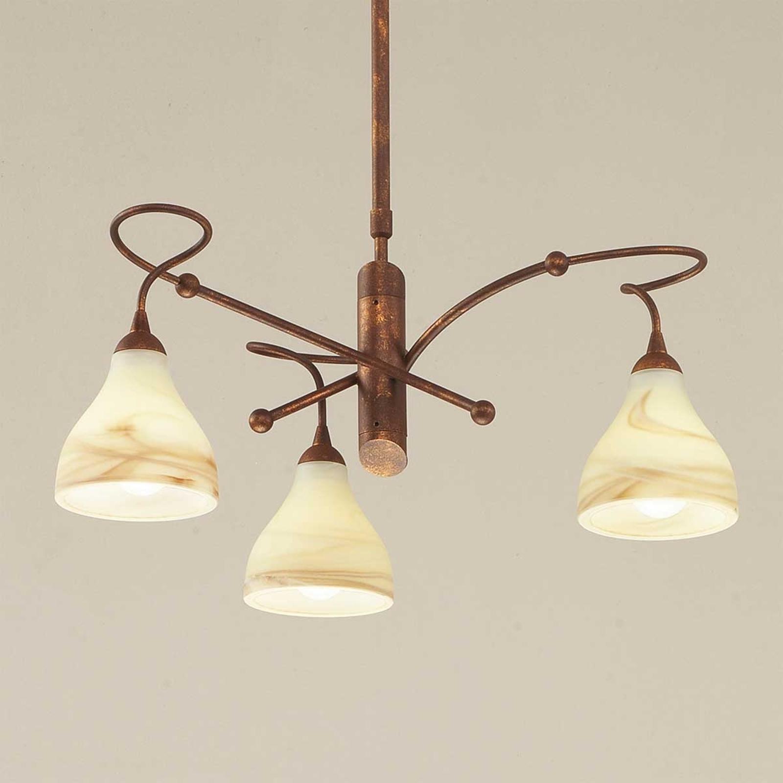 Brązowa lampa wisząca Mattia 3-punktowa