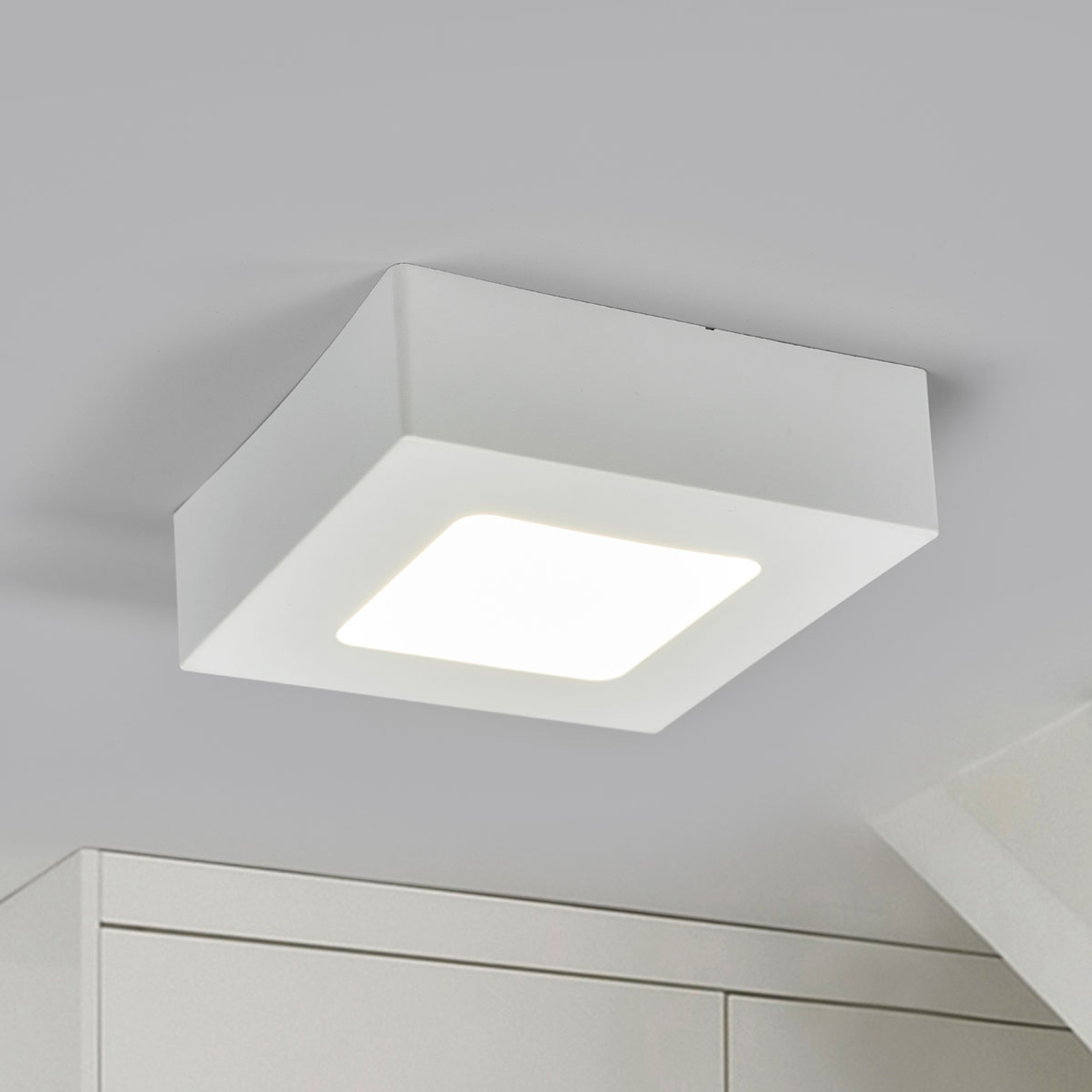 LED-Deckenlampe Marlo weiß 4000K eckig 12,8cm