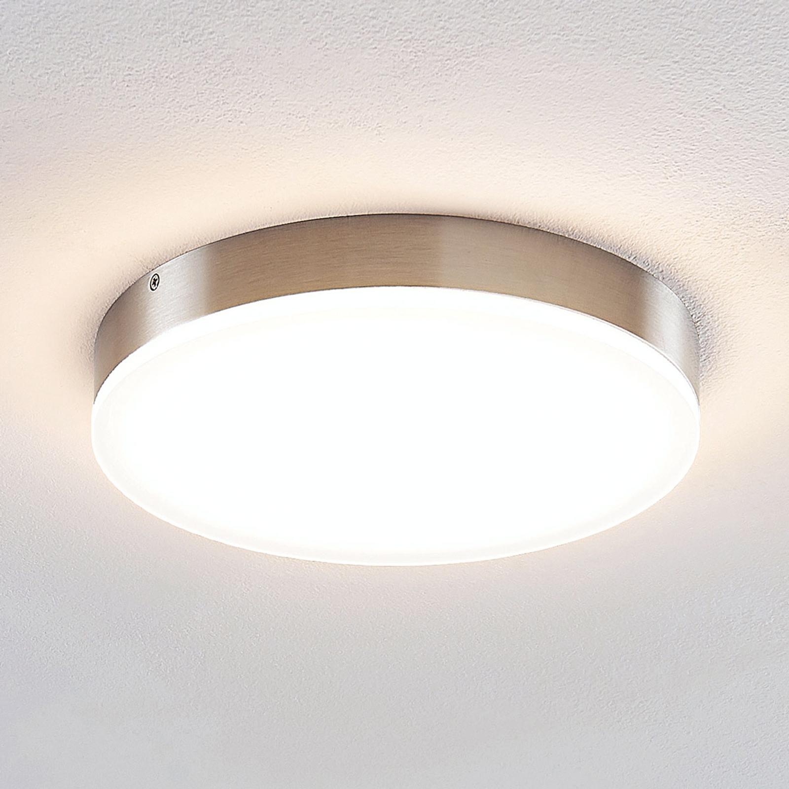 Lindby Leonta lampa sufitowa LED, nikiel Ø 25 cm