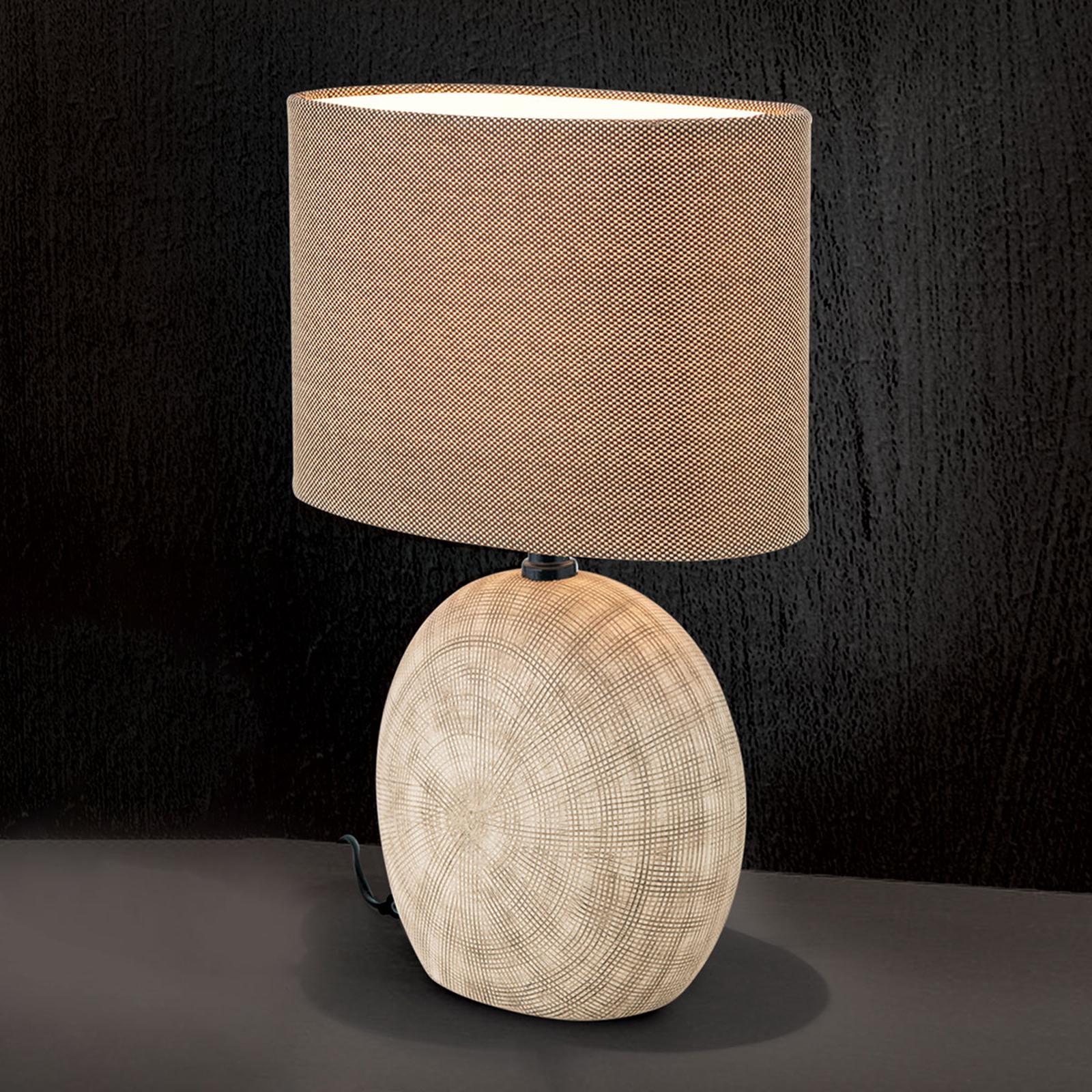 Keramische tafellamp Ethno 52 cm bruin, voet cotto