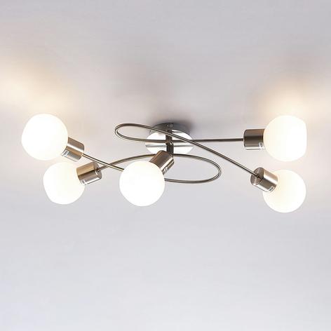 Mooie LED-plafondlamp Elaina, 5-lichts, mat nikkel