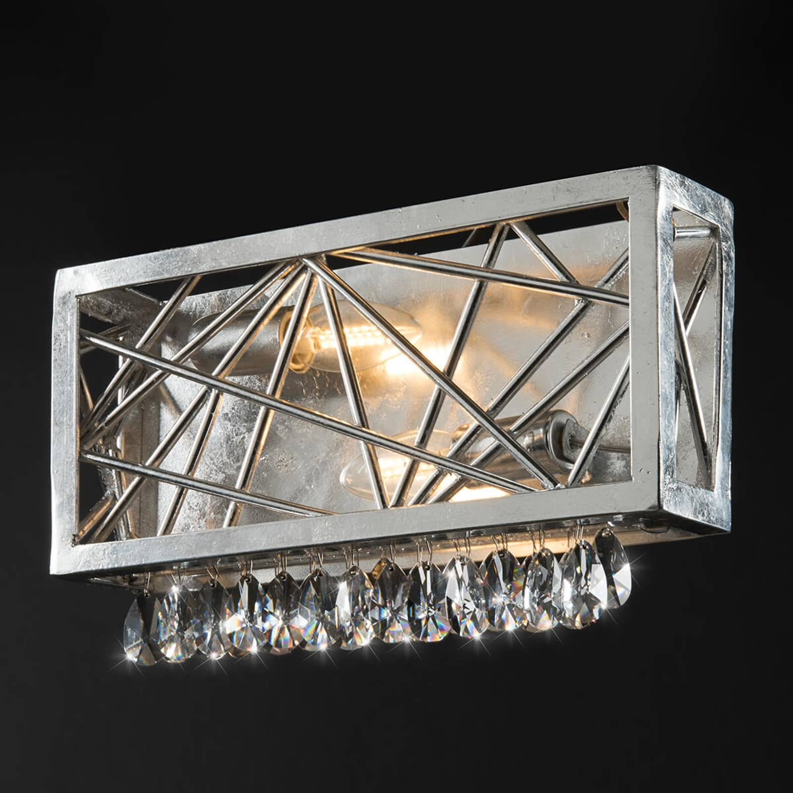 Zilveren kristallen wandlamp Alice