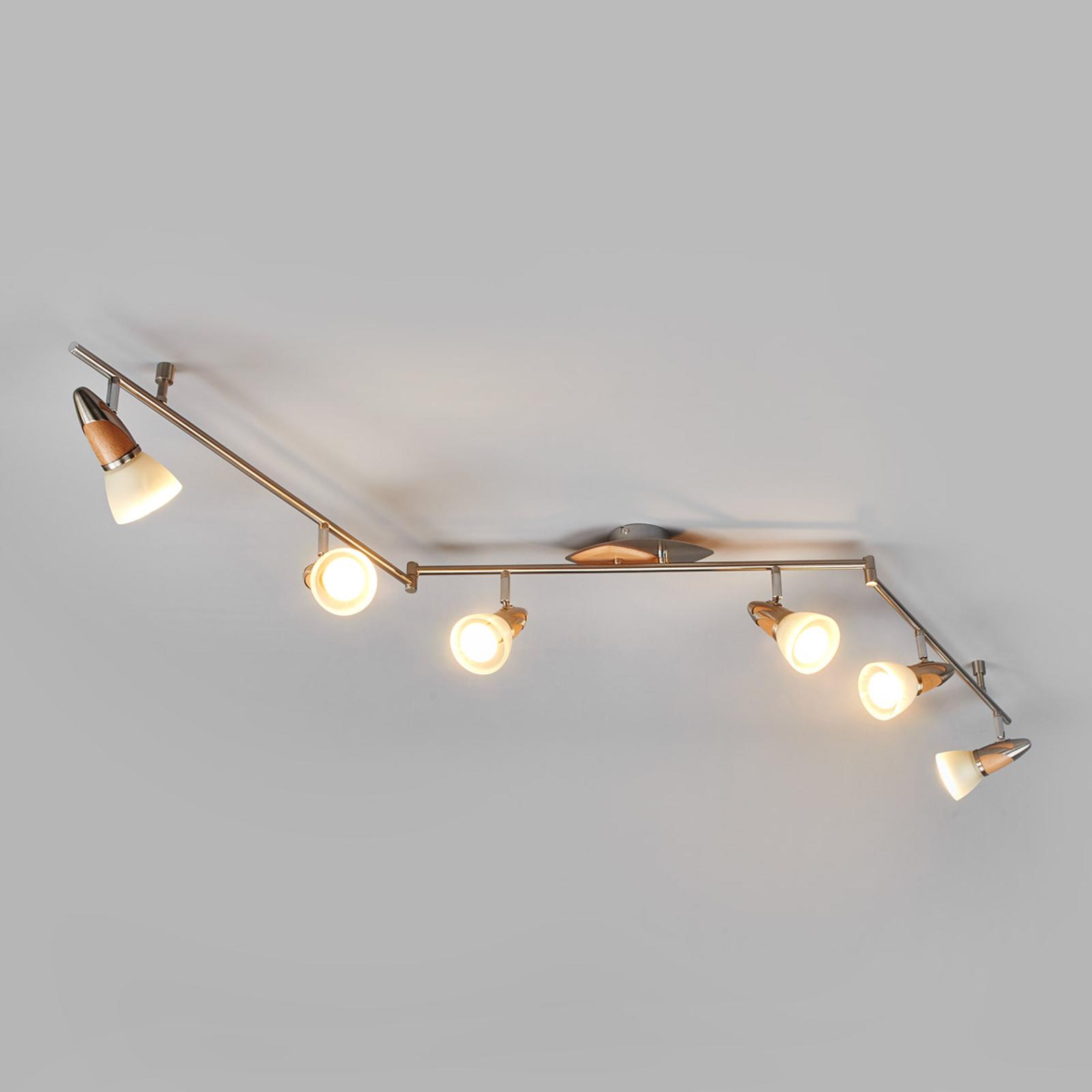 LED-trätaklampa Marena, 6 ljuskällor