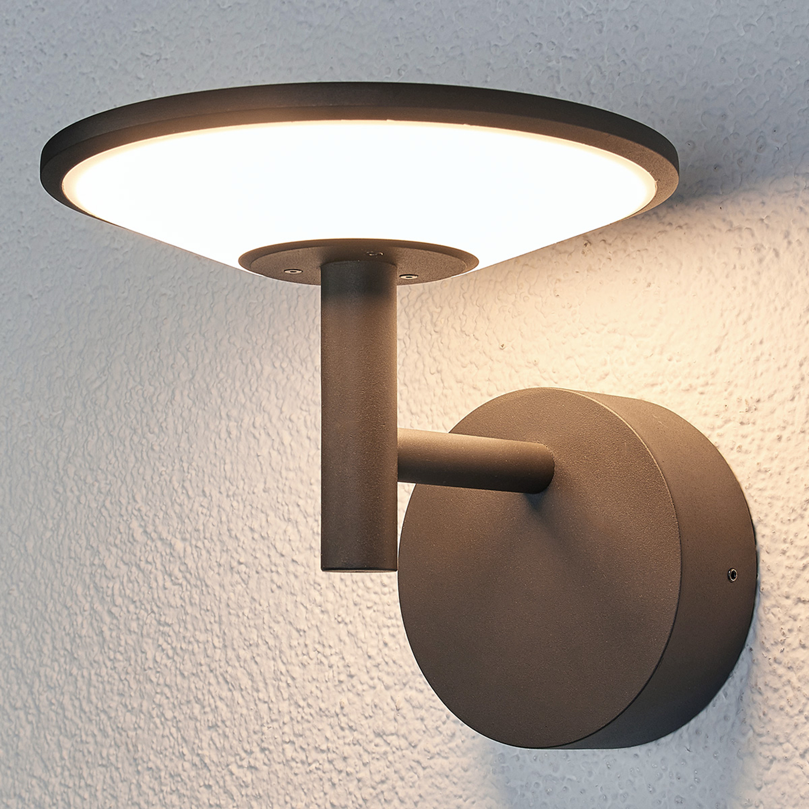Antrasittfarget utendørs LED-vegglampe Fenia