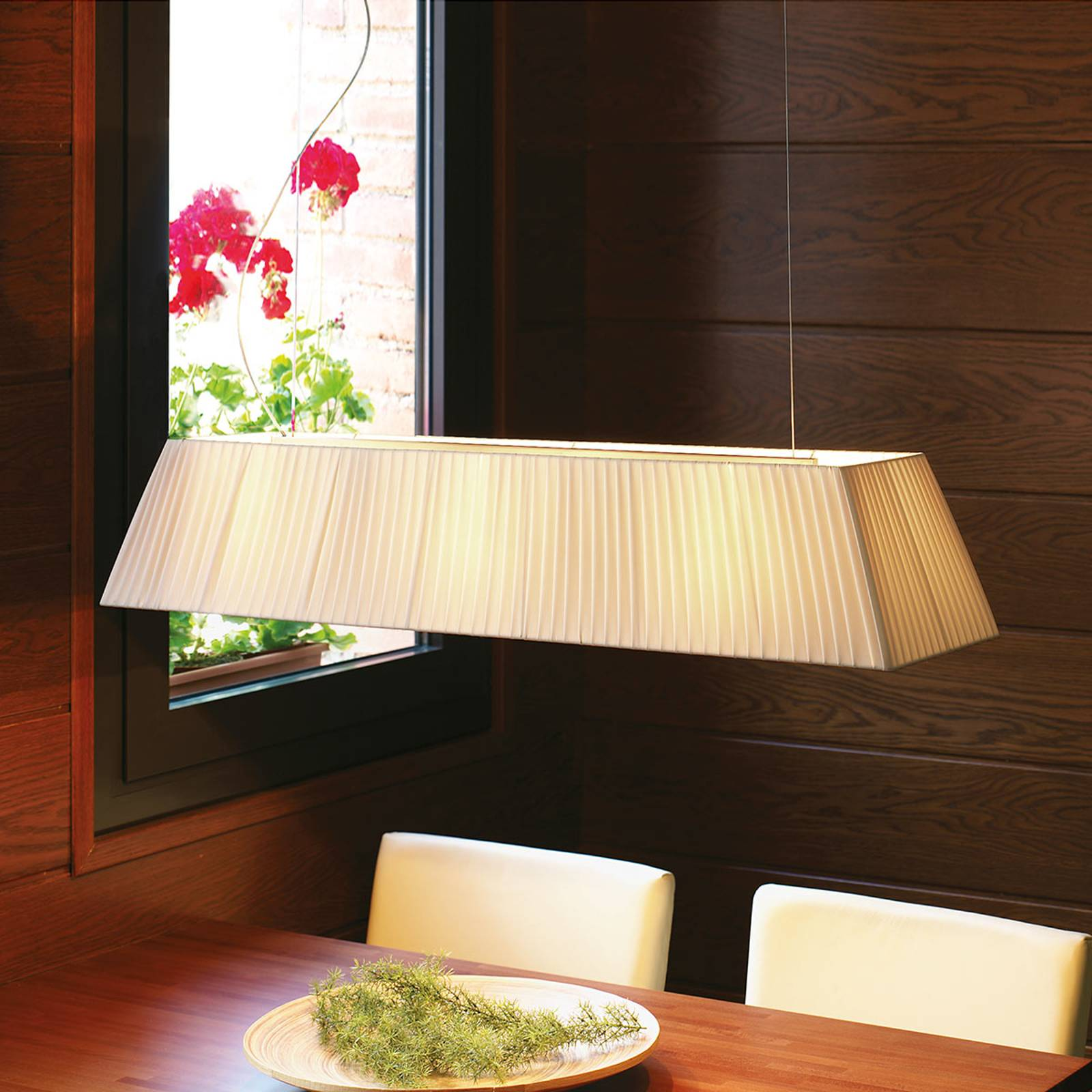 Bover Mei 100 - langwerpige hanglamp, crème
