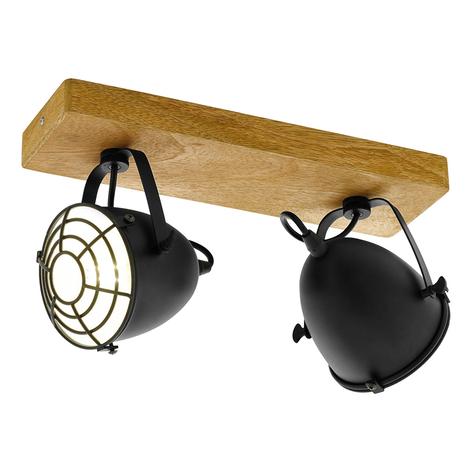 Stropní reflektor Gatebeck, dřevo a kov, 2-žár.